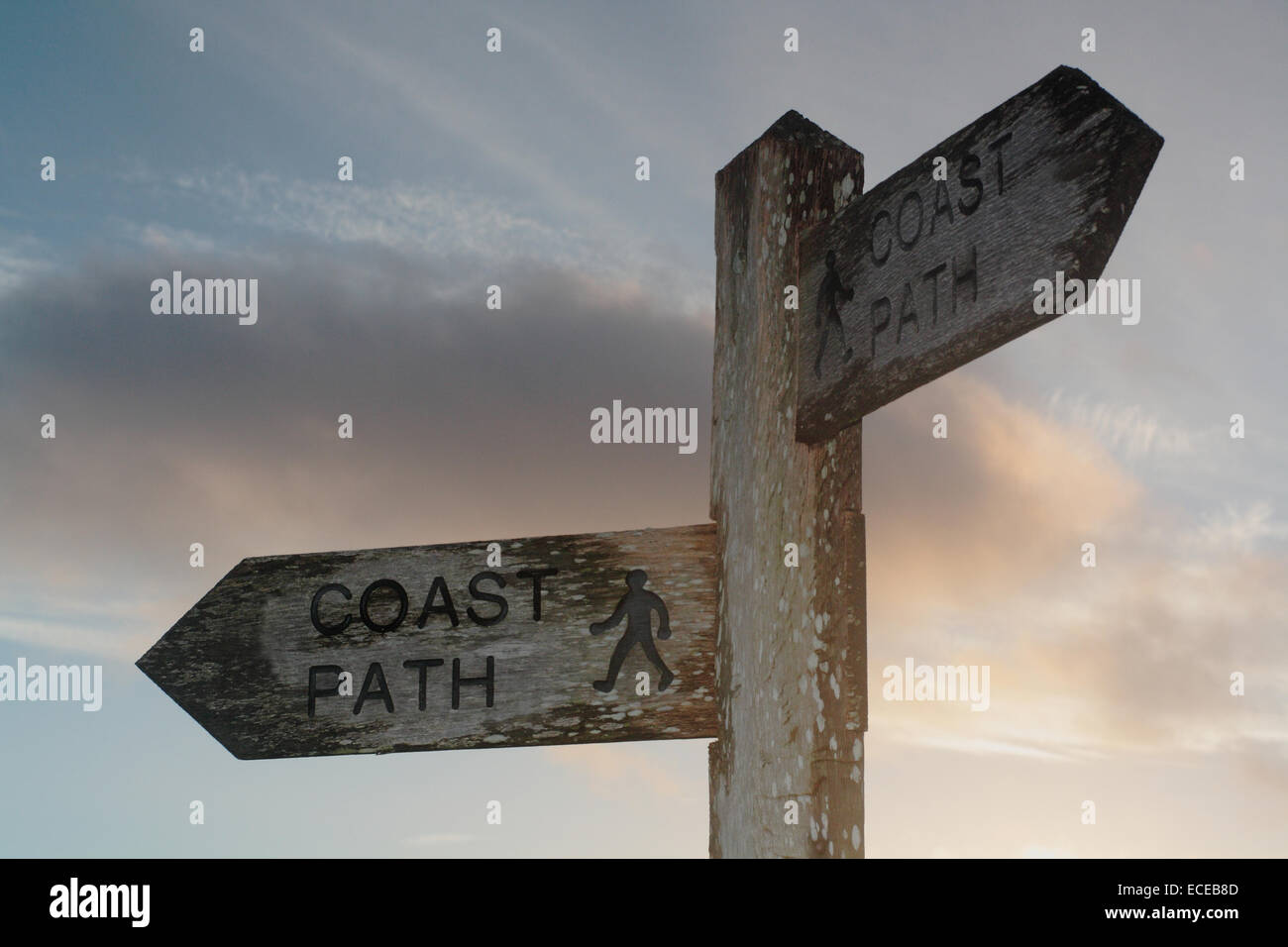 Großbritannien, England, Dorset, Coast Path, Küste Weg Finger post Stockbild