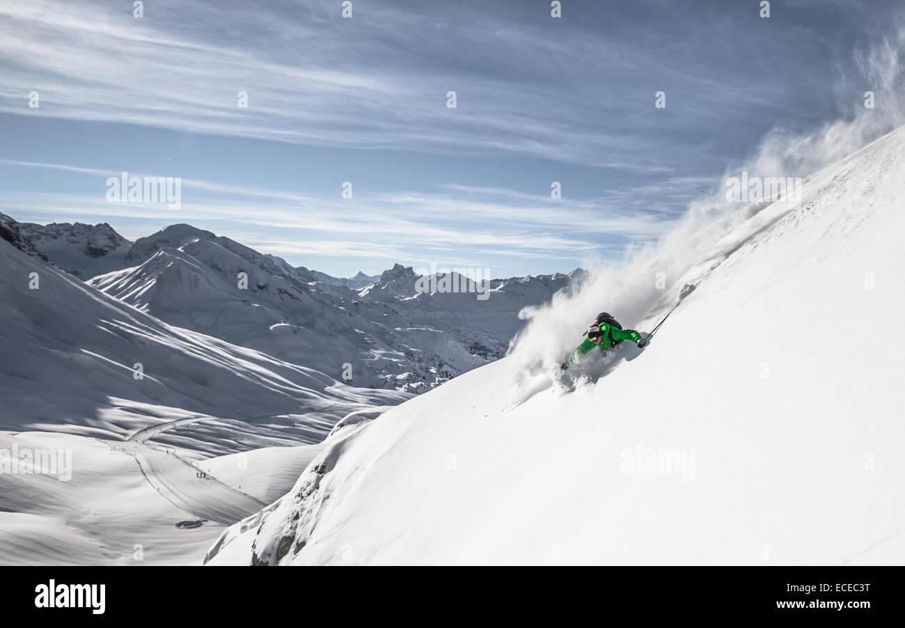 Österreich, downhill Freeride Ski Skifahren Stockbild