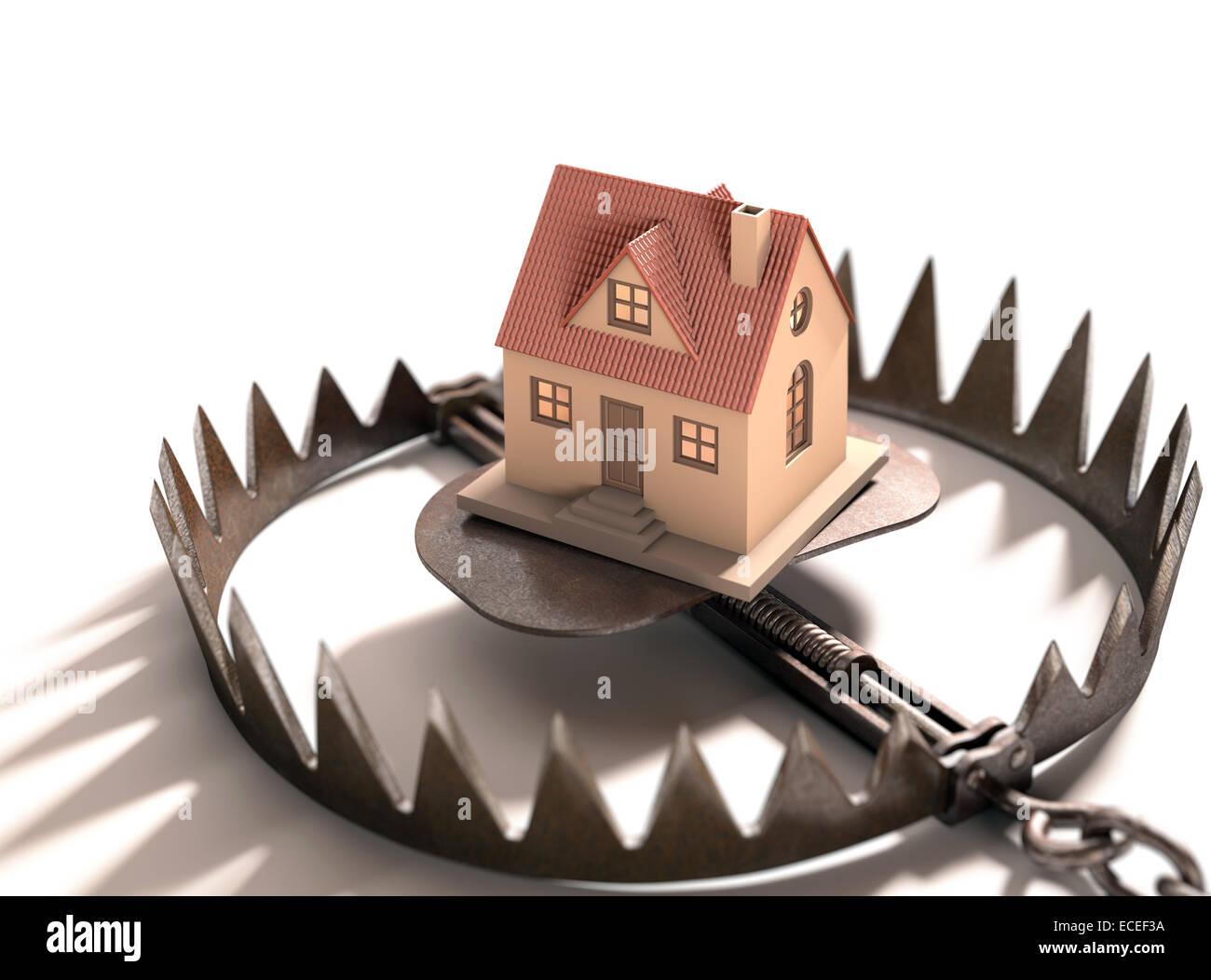 Der Bärenfang mit einem Haus im Inneren. Konzept der Hypothek, Pfandrecht und Immobilienfinanzierung. Stockbild