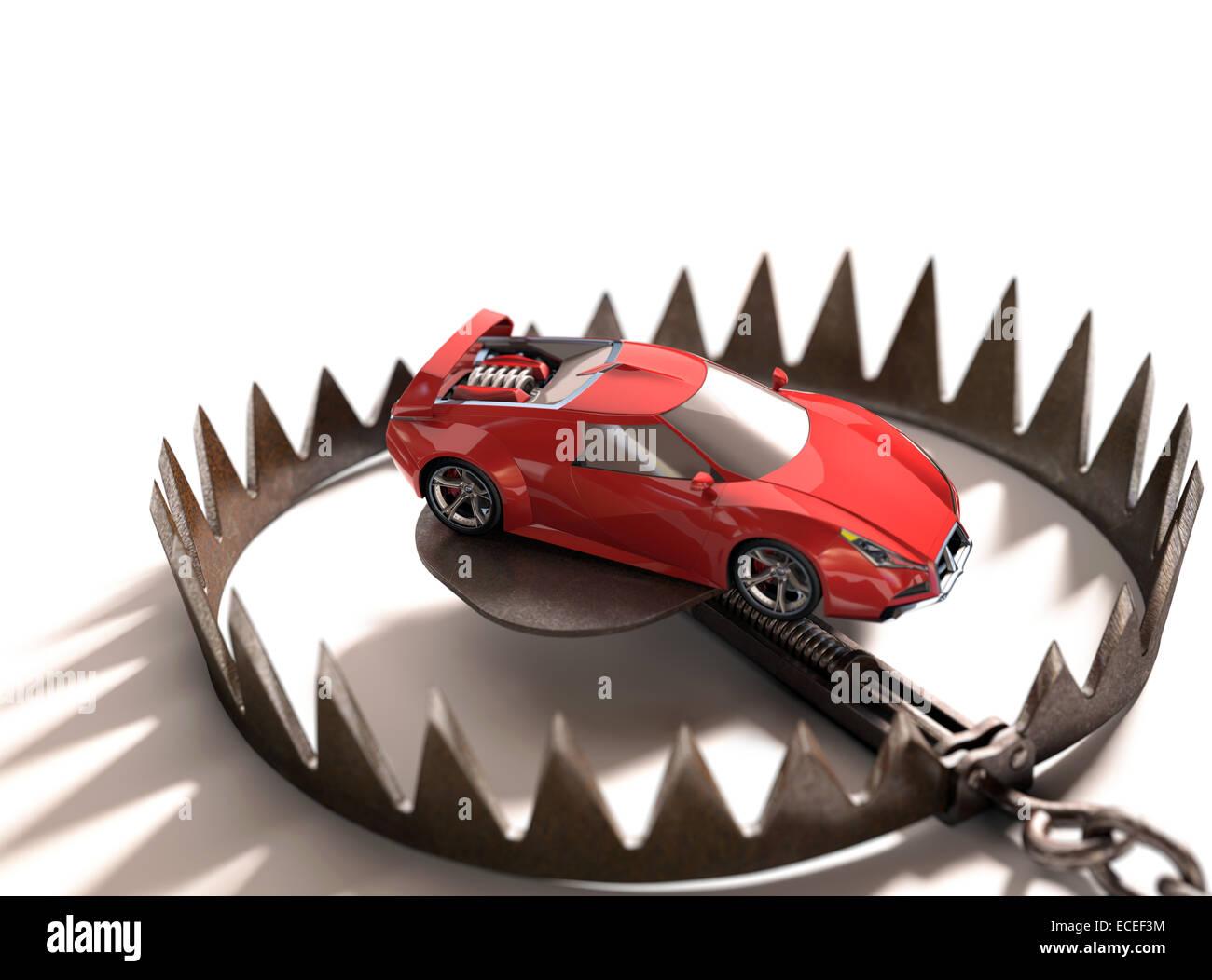 Sportwagen in eine Bärenfalle. Risk-Konzept bei der Finanzierung von hohen Werts. Stockbild