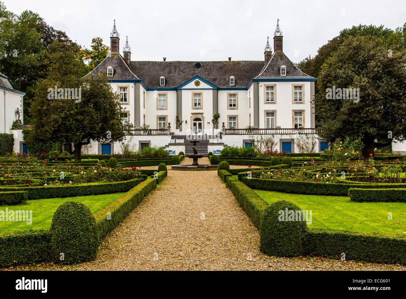 Weingut, Schloss Genoels Edleren, das größte Weingut in Belgien Stockbild