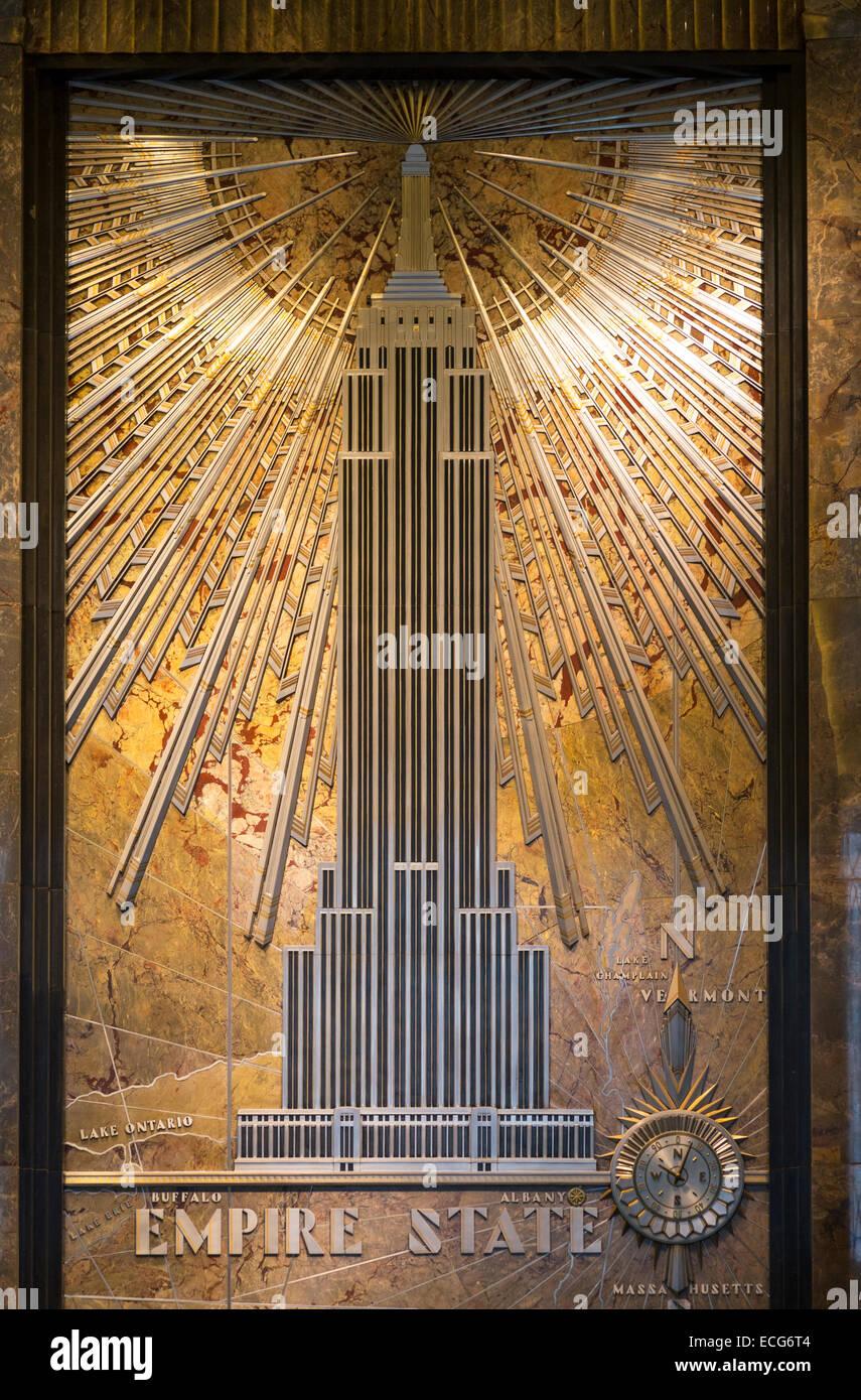 Im Hinteren Teil Der Empire State Gebäude Fifth Avenue Ist Lobby Ein