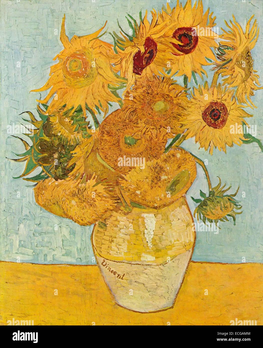 still leben vase mit zw lf sonnenblumen august 1888 vincent van gogh stockfoto bild. Black Bedroom Furniture Sets. Home Design Ideas
