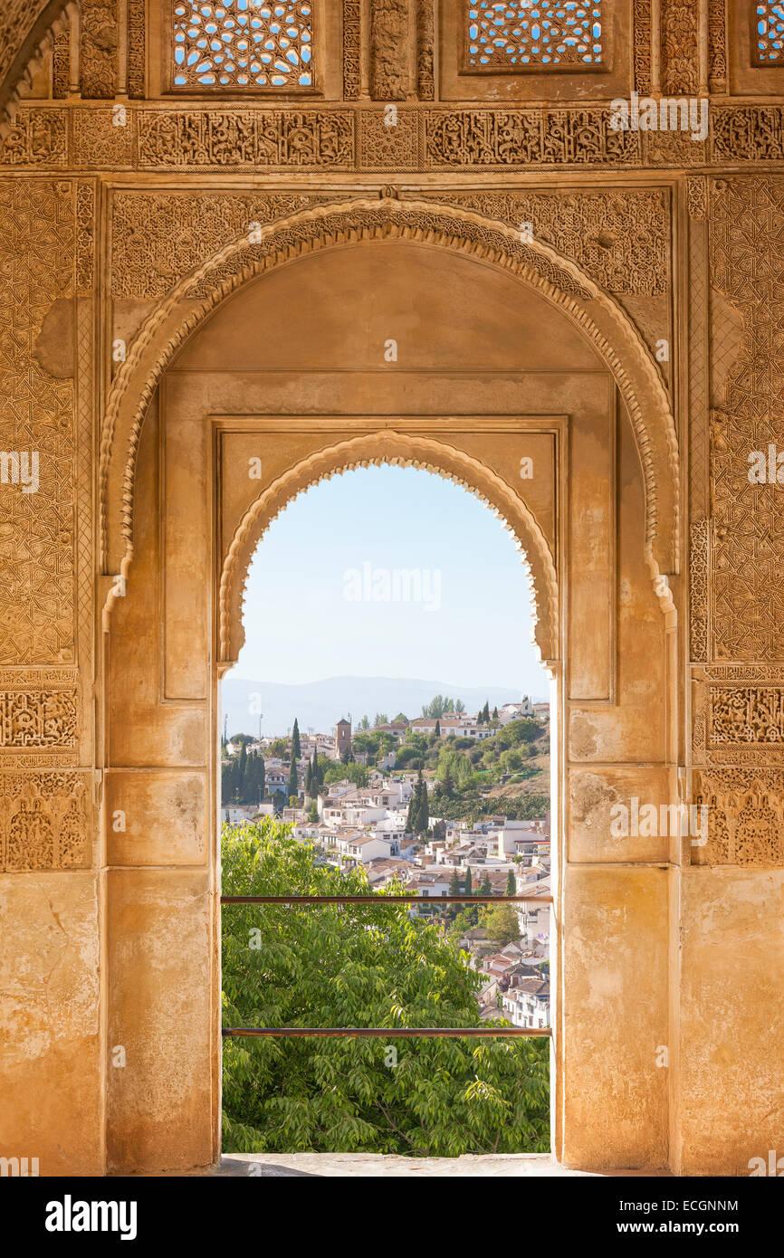 Granada Spanien, EL Albayzin, die arabischen Viertel und Barrio Sacromonte. Blick aus einem Fenster des Palastes Stockbild