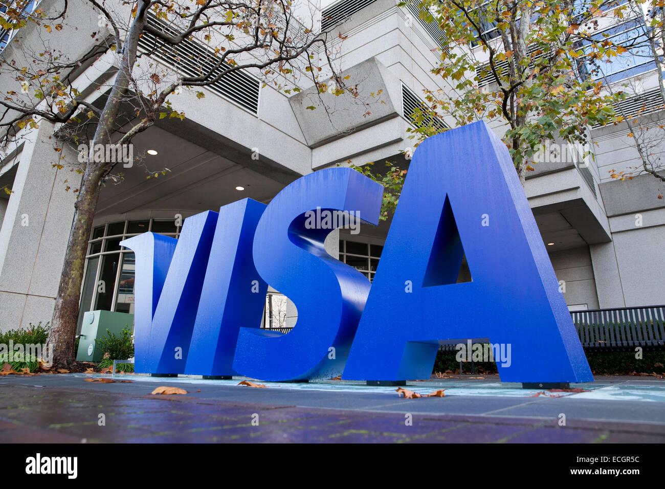 Das Hauptquartier der Kreditkartenanbieter Visa. Stockbild
