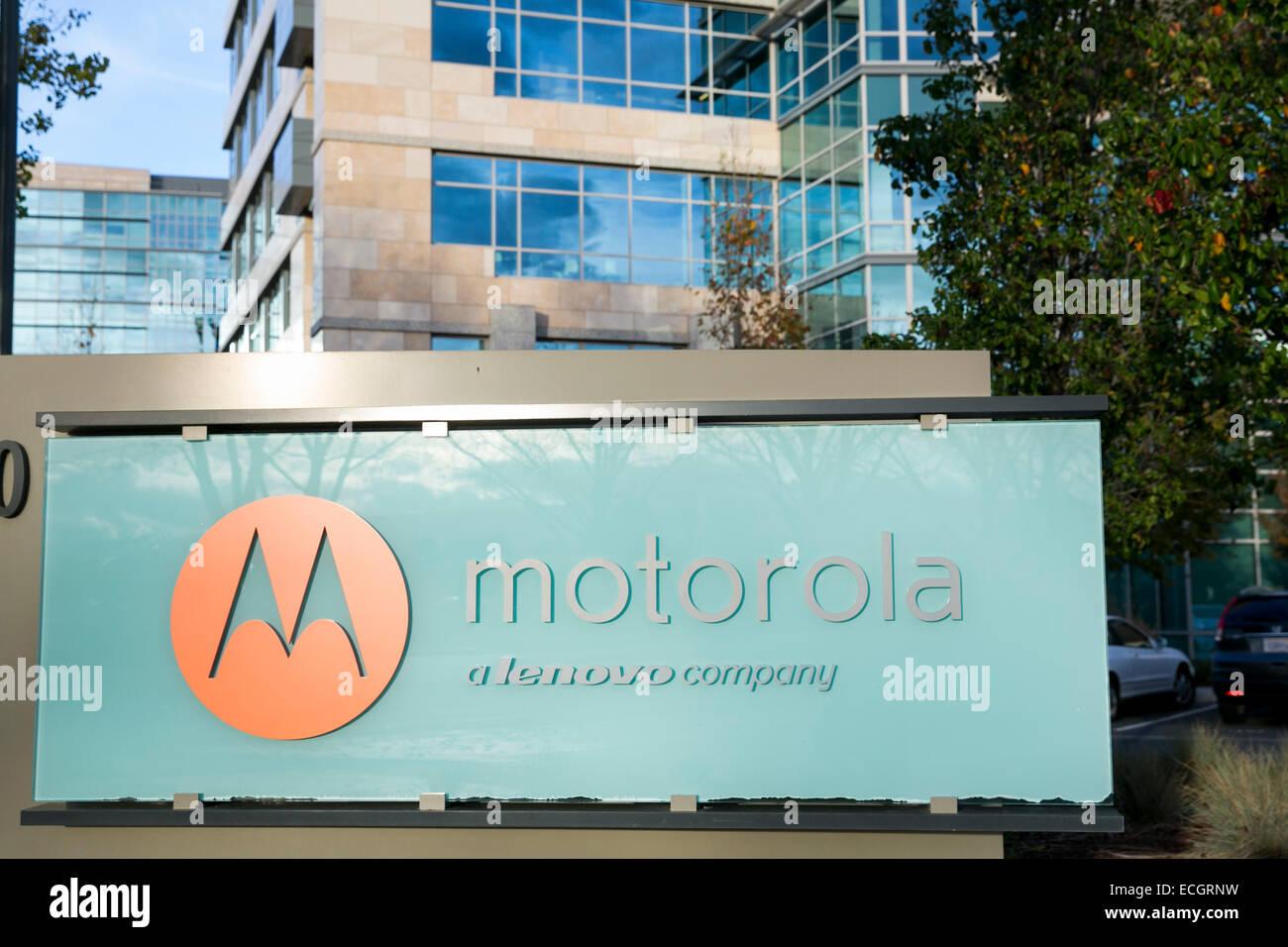Ein Bürogebäude von Motorola Mobility besetzt. Stockbild