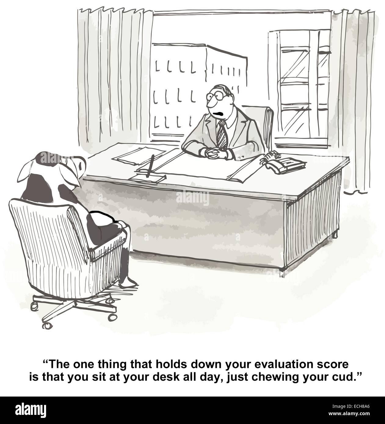 In die Leistungsbeurteilung treffen sagt der Chef dem Mitarbeiter ...