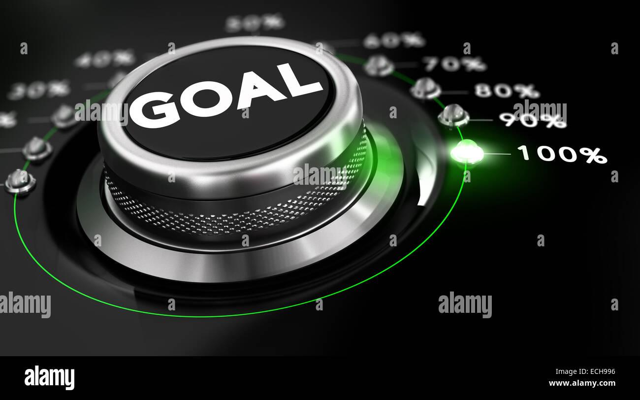 Einschaltknopf positioniert auf die Nummer 100 Prozent, schwarzer Hintergrund und grünes Licht. Konzeptbild Stockbild