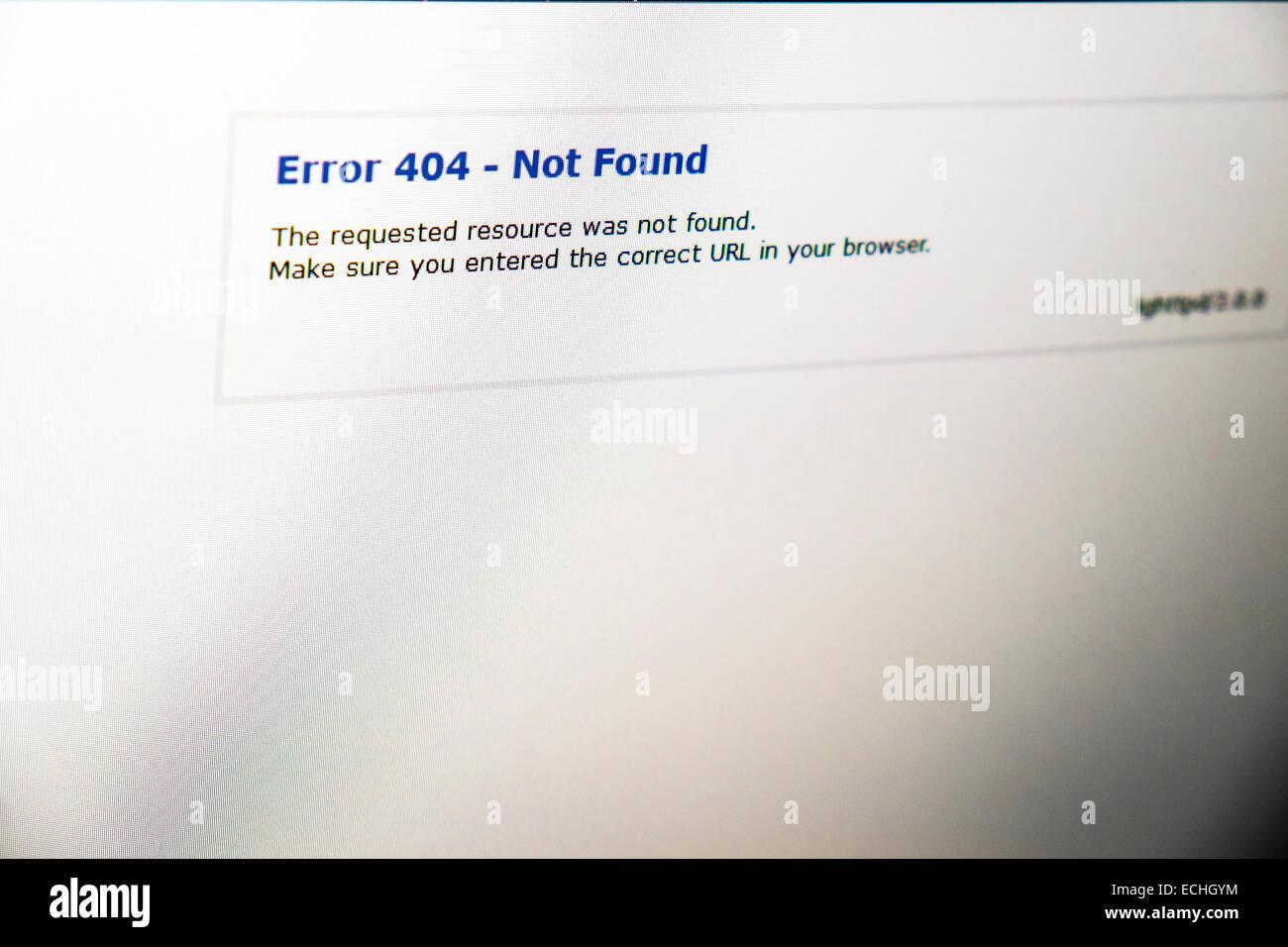 Fehler 404 nicht gefunden Web Website Problem Internet Störung angeforderten URL resource Stockbild