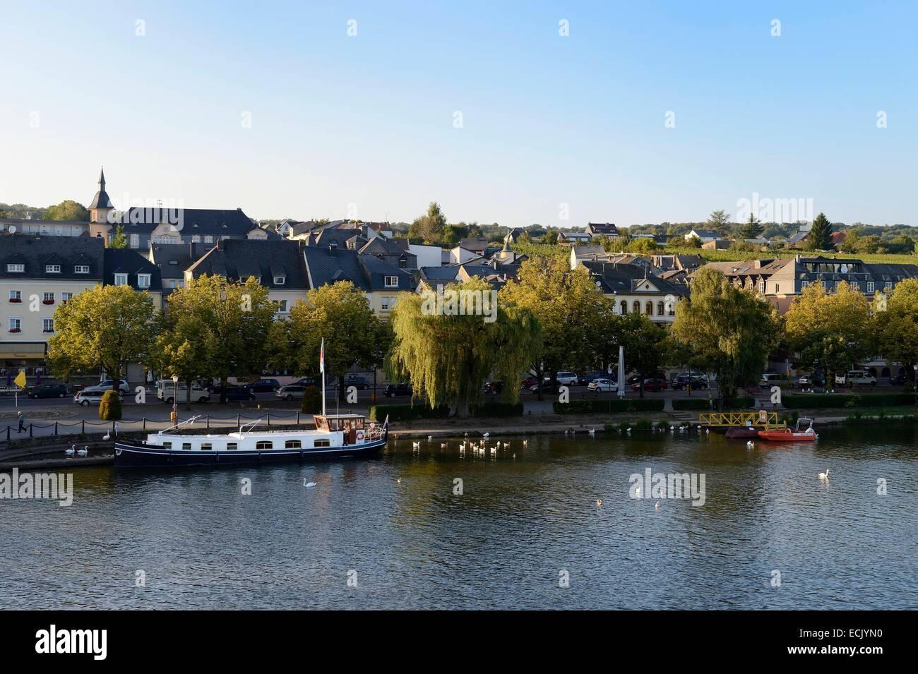 Luxemburg, Grevenmacher District, Mosel, Mosel in Remich Stockbild