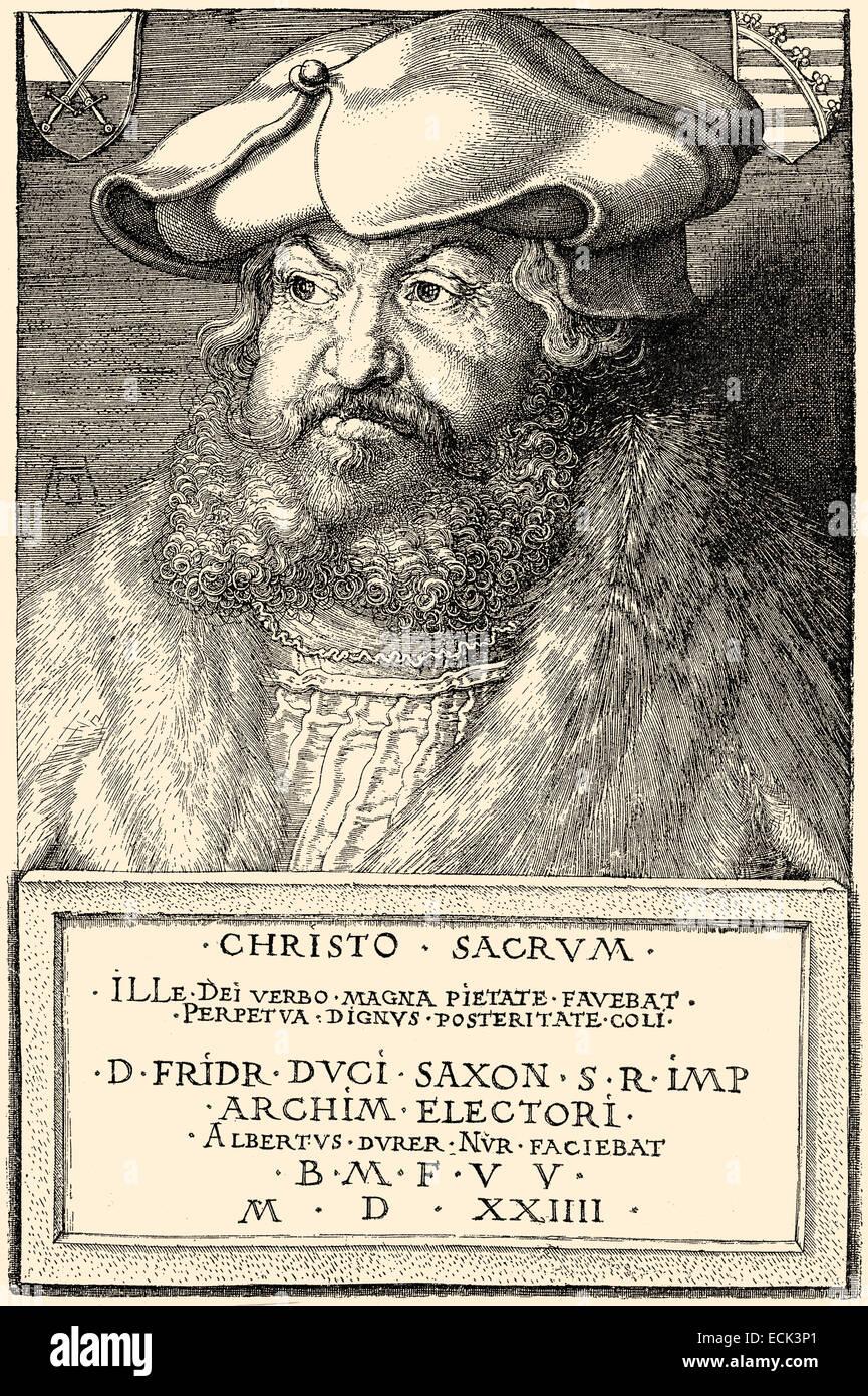 Friedrich III. und Friedrich dem weisen, 1463-1525, Kurfürst von Sachsen, Friedrich III.oder Friedrich der Stockbild
