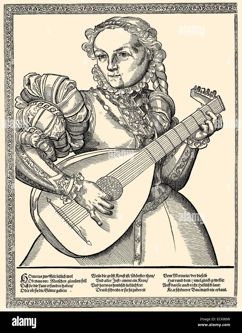 Lautenspieler, 16. Jahrhundert, Deutschland, Europa, Lautenspielerin, 16. Halbmonatsschrift, Deutschland, Europa Stockbild