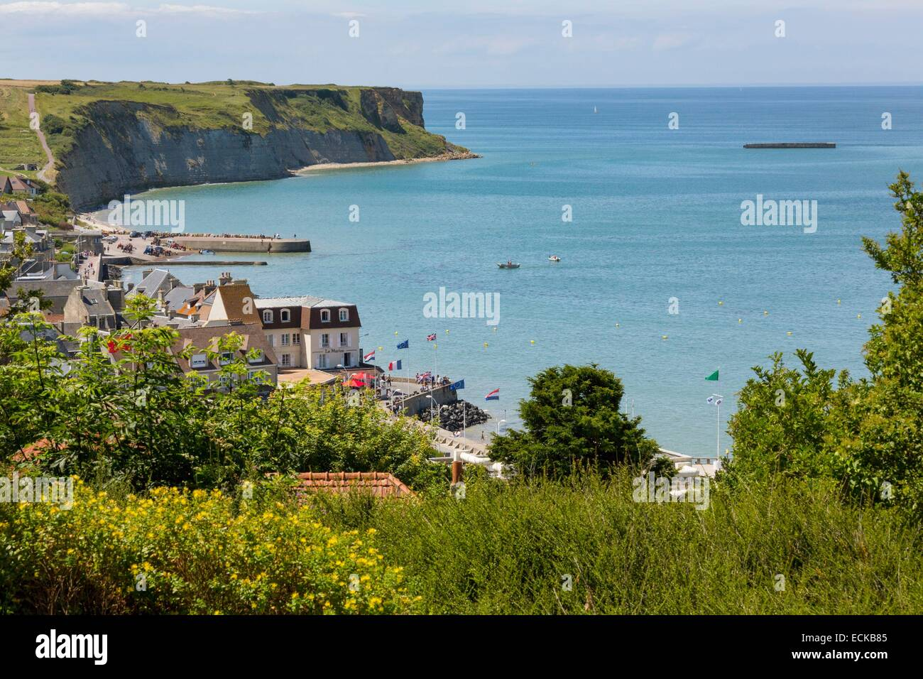 Frankreich, Calvados, Arromanches-Les-Bains, die Schaltung der Landungsstrände des zweiten Weltkriegs, die Stockbild