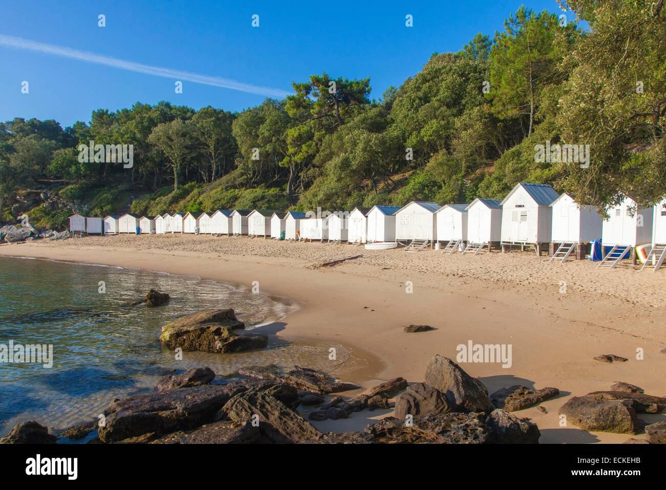 Frankreich Vendee Ile De Noirmoutier Bois La Chaise Strand Anse Rouge Und Hutten