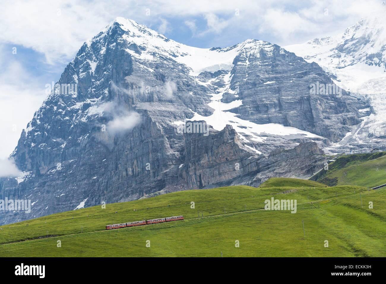 Schweiz, Kanton Bern, Grindelwald, aufgeführt als Weltkulturerbe der UNESCO, Zug zum Jungfraujoch, dem höchsten Stockbild