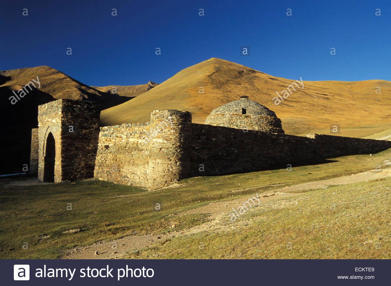 Kirgisistan, Karawanserei von Tash Rabat. Stockbild
