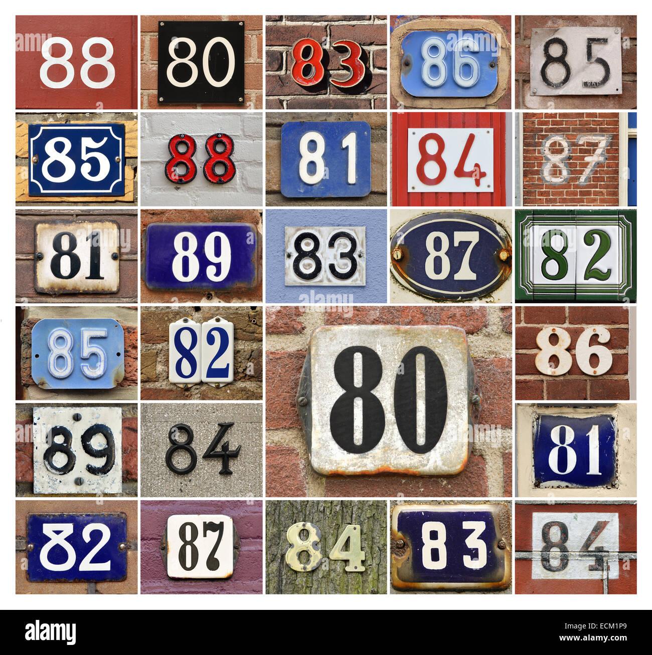Collage von Hausnummern der 80er Jahre Stockbild