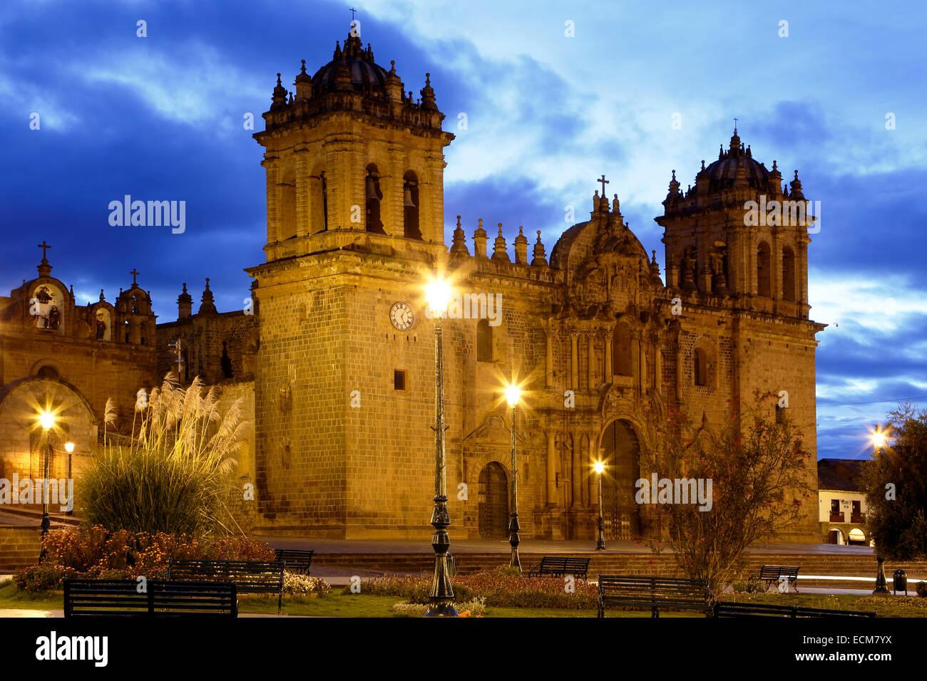 Cusco-Kathedrale (Nuestra Señora De La Asunción) und Plaza de Armas in Cusco, Peru Stockbild