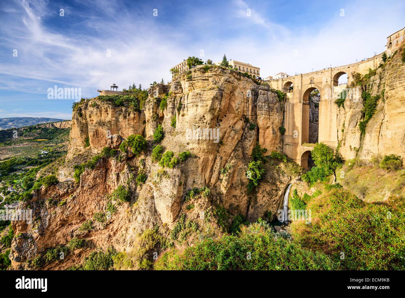 Ronda, Spanien an der Brücke Puente Nuevo. Stockbild