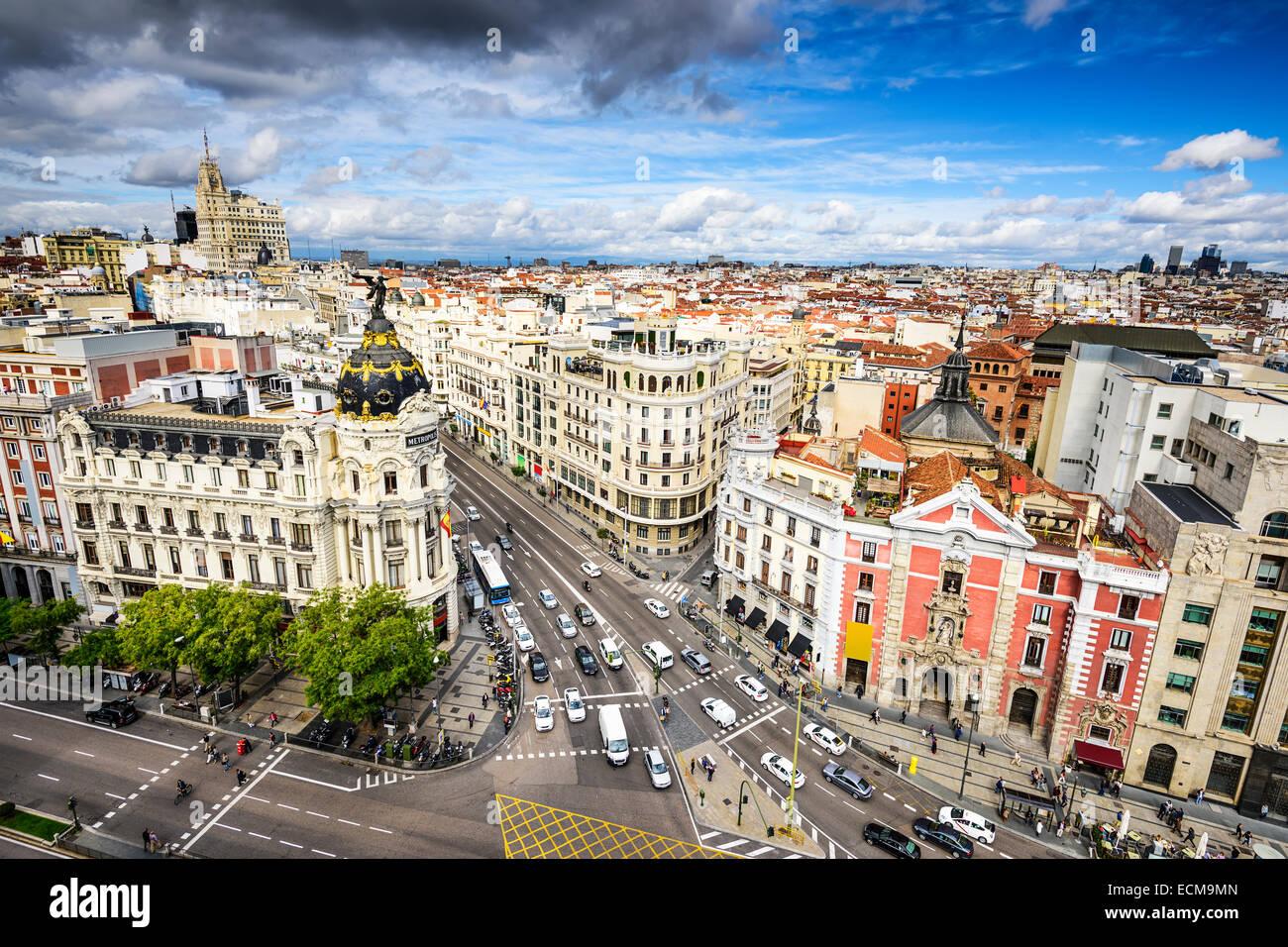 Madrid, Spanien Stadtbild über Gran Vía Einkaufsstraße. Stockbild