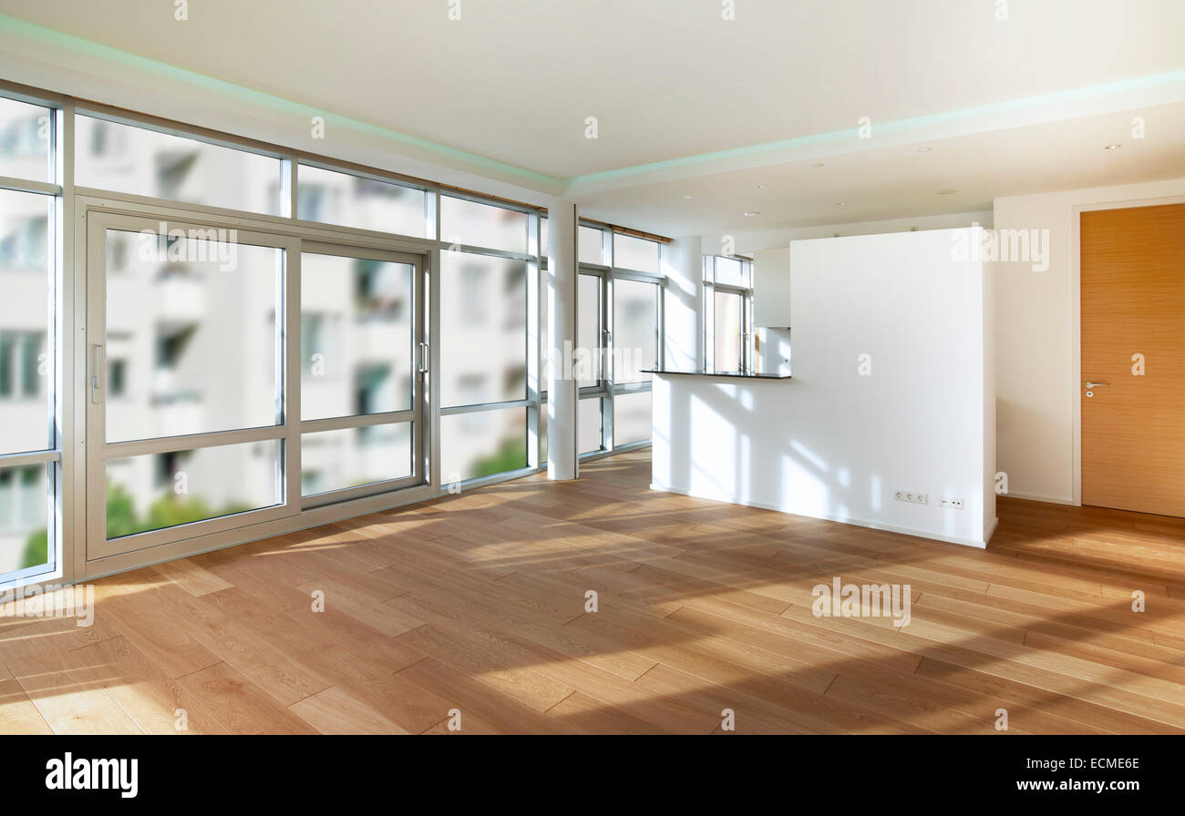 Leeren Raum, Wohnzimmer, weiße Wände, Parkett Stockbild