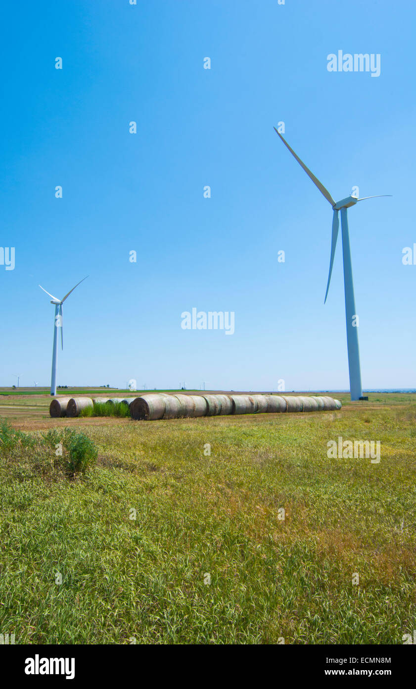 Windkraftanlagen in Kansas in der Nähe von Salina, Kansas Ökologie Energie wind Stockbild
