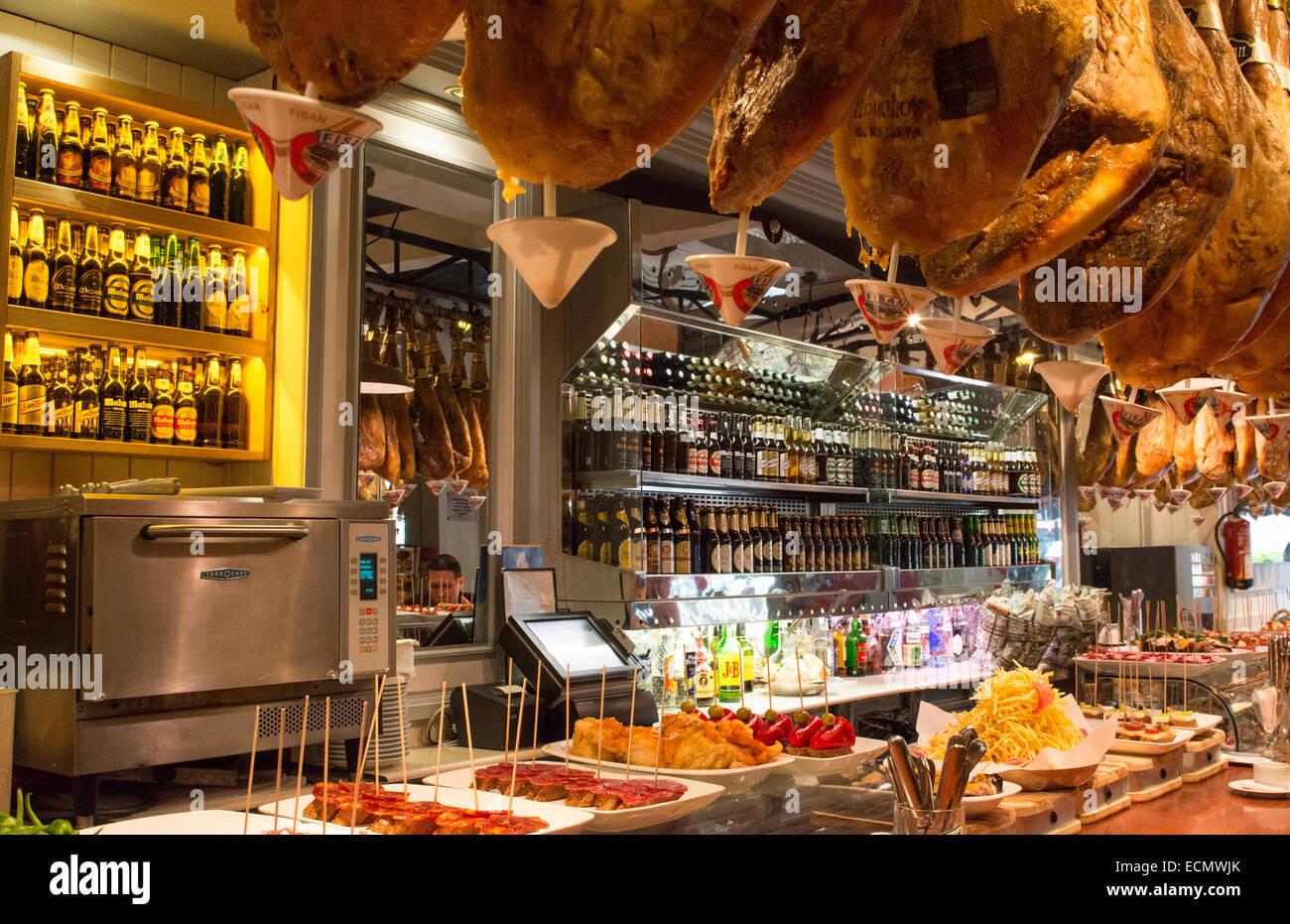 Barcelona Spanien Schinken Costa Gallega Tapas Restaurant Zähler ...