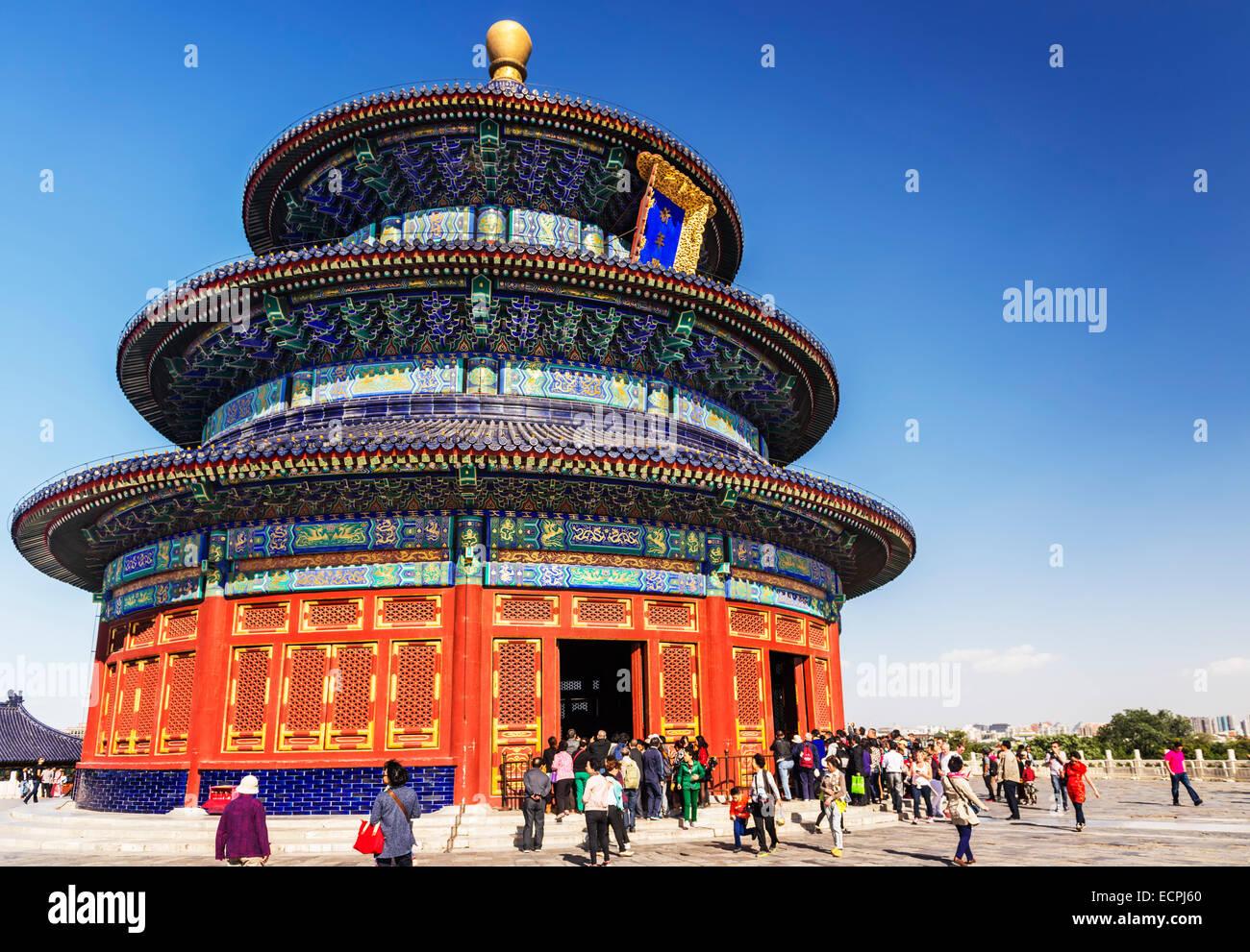 Der Tempel des Himmels, Halle des Gebets für gute Ernten, die Gebäude in Peking, China 2014 Stockbild