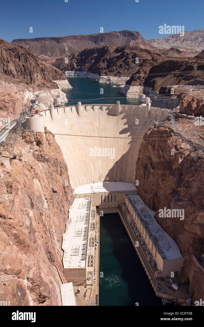 Der Hoover-Staudamm Wasserkraftwerk, Nevada, USA. Stockbild