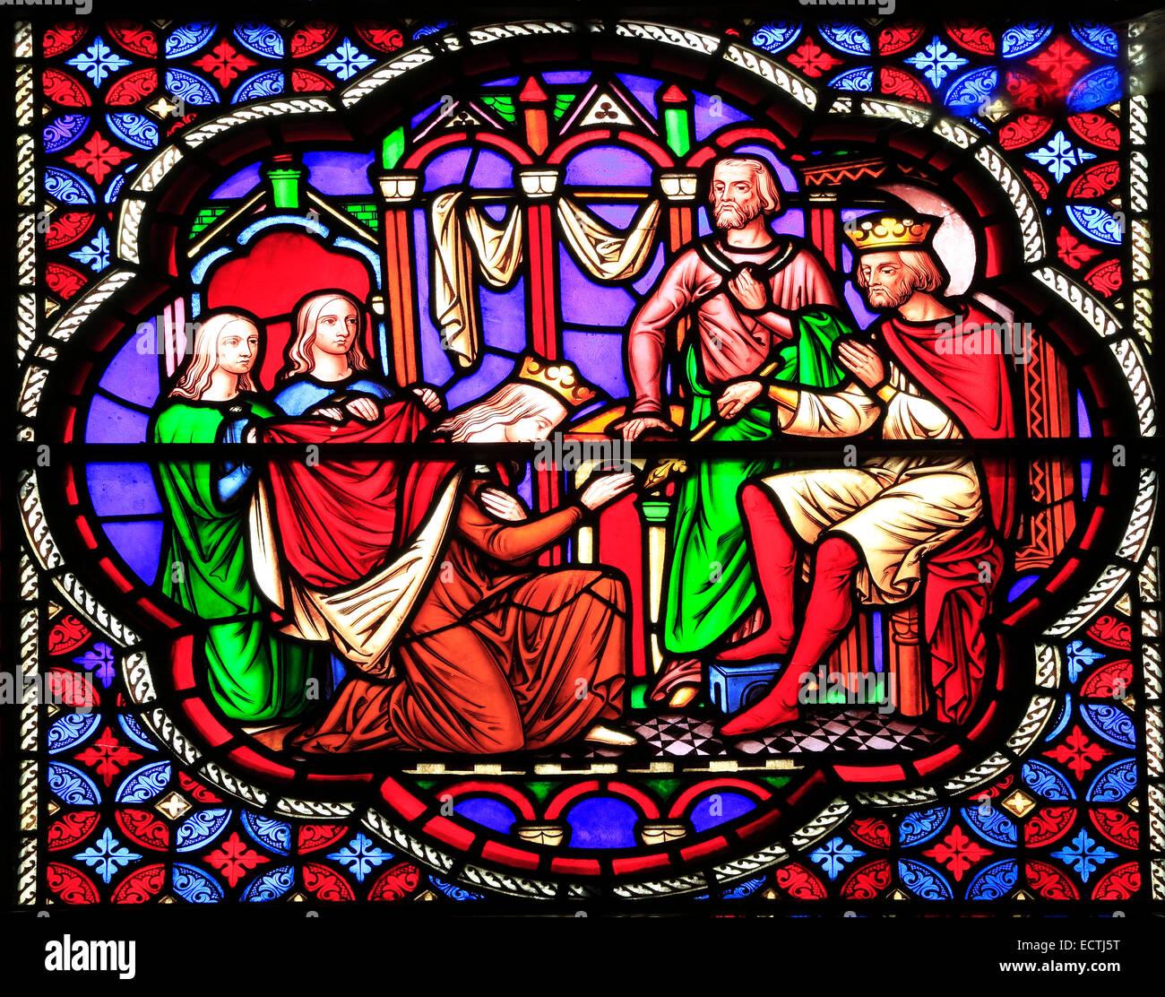 Glasfenster, Esther, gewählt durch den König von William Wailes, 1849, Ely Cathedral Stockbild