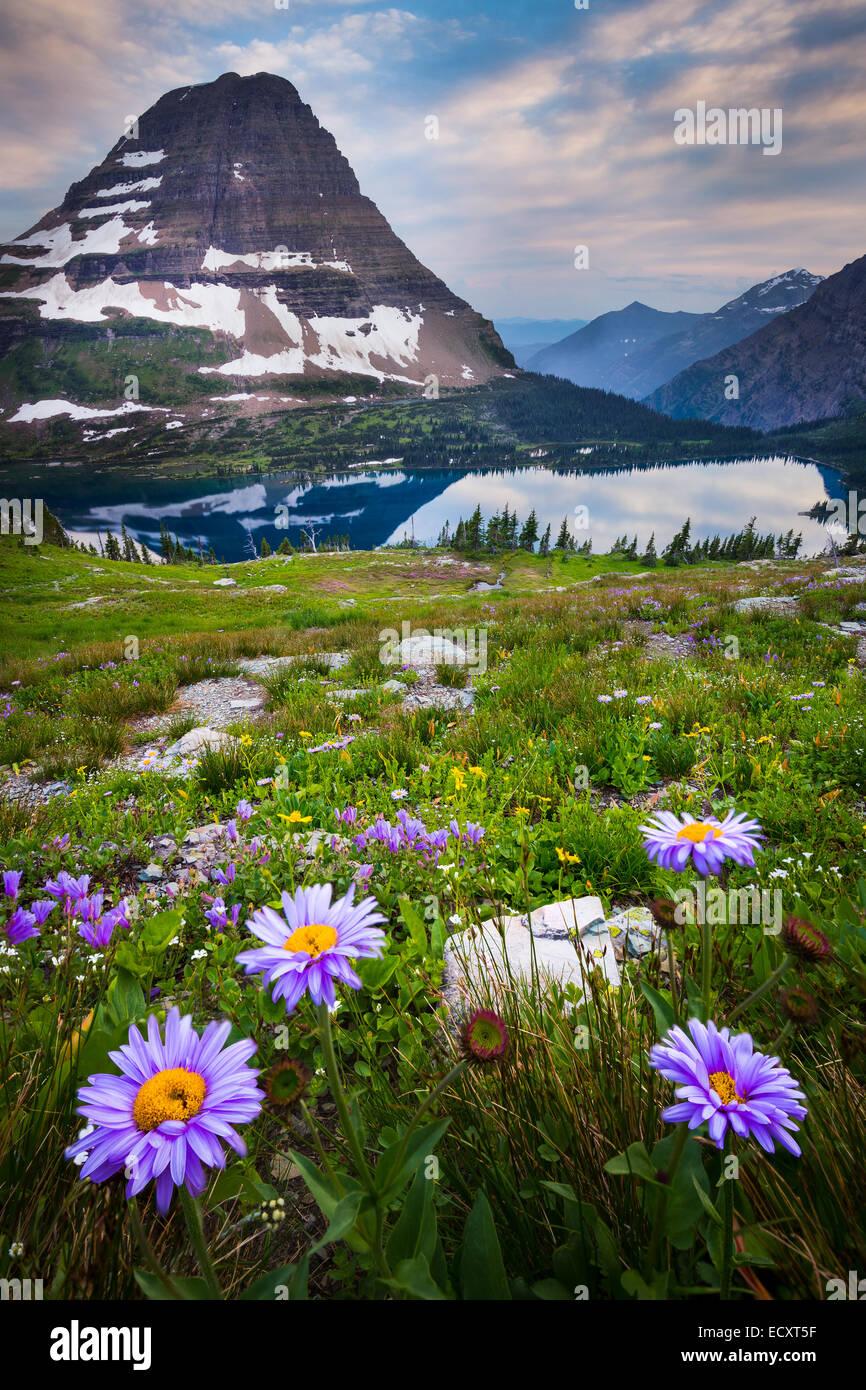 Versteckten See befindet sich im Glacier National Park im US-Bundesstaat Montana. Stockbild