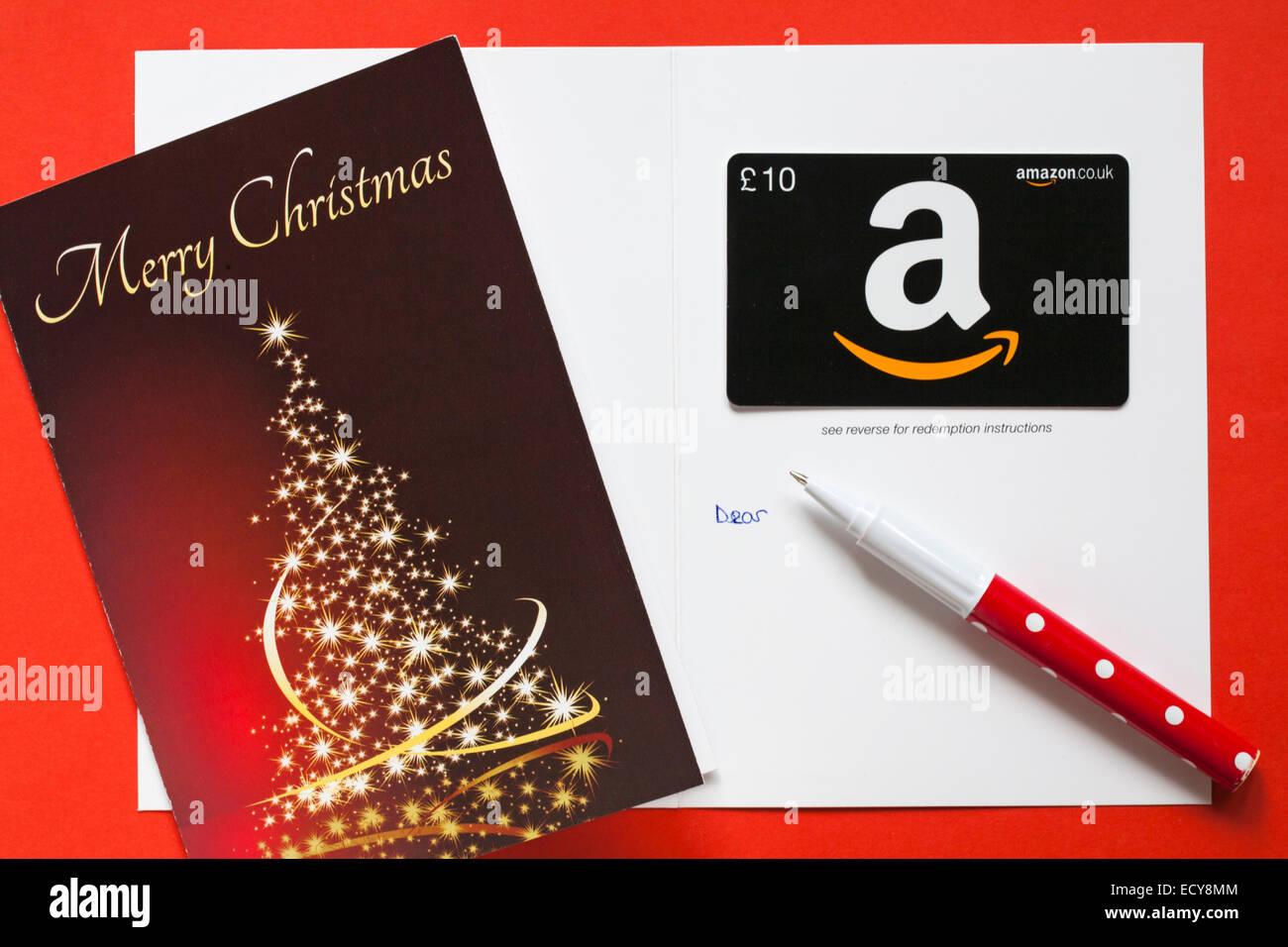 Amazon frohe Weihnachten giftcard mit geschmückten Weihnachtsbaum ...