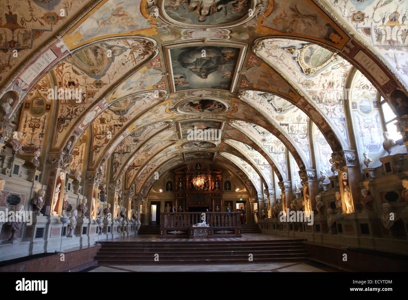Renaissance innen Münchner Residenz Antiquarium Stockbild