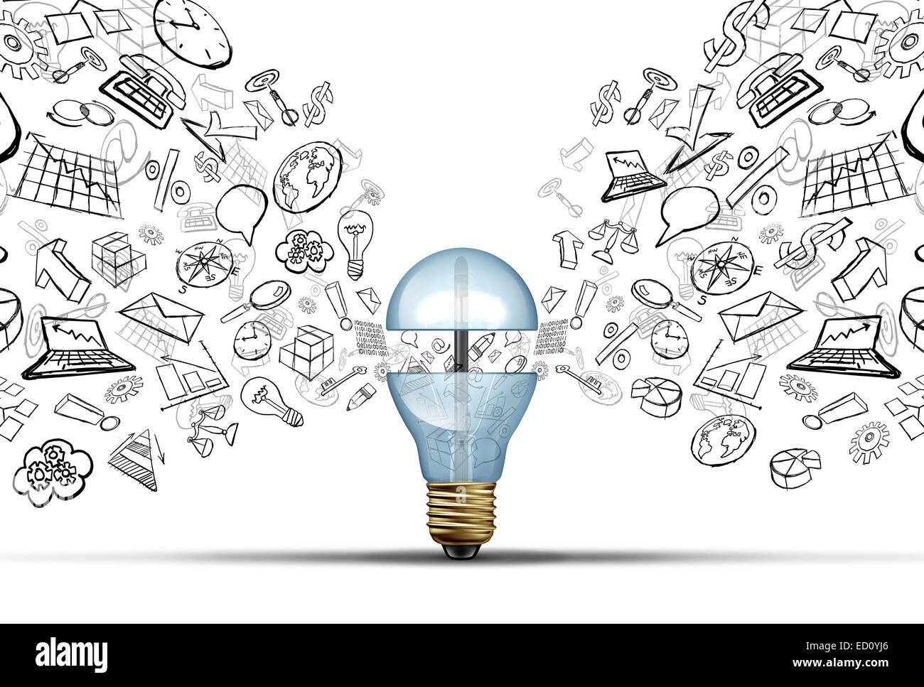 Business Innovation Ideen-Konzept als eine offene Glühbirne mit Finanz- und Office-Symbole als Kommunikation Stockbild