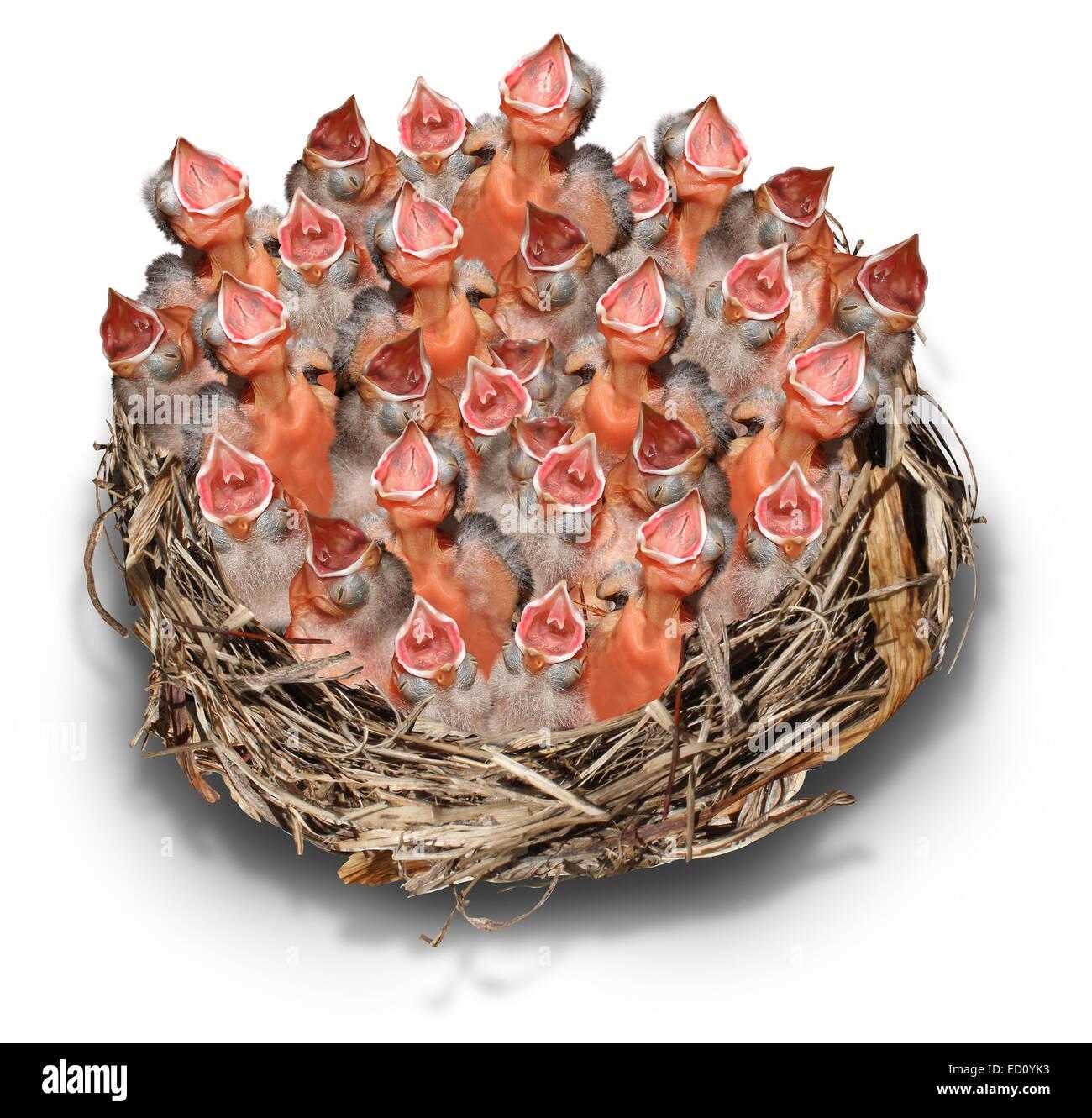 Anspruchsvolle Bürger Konzept und social-Media-Symbol als Metapher Masse mit einer großen chaotische Gruppe Stockbild