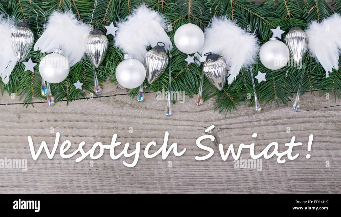 weihnachtskarte mit tannengr n kugeln und engelsfl gel. Black Bedroom Furniture Sets. Home Design Ideas