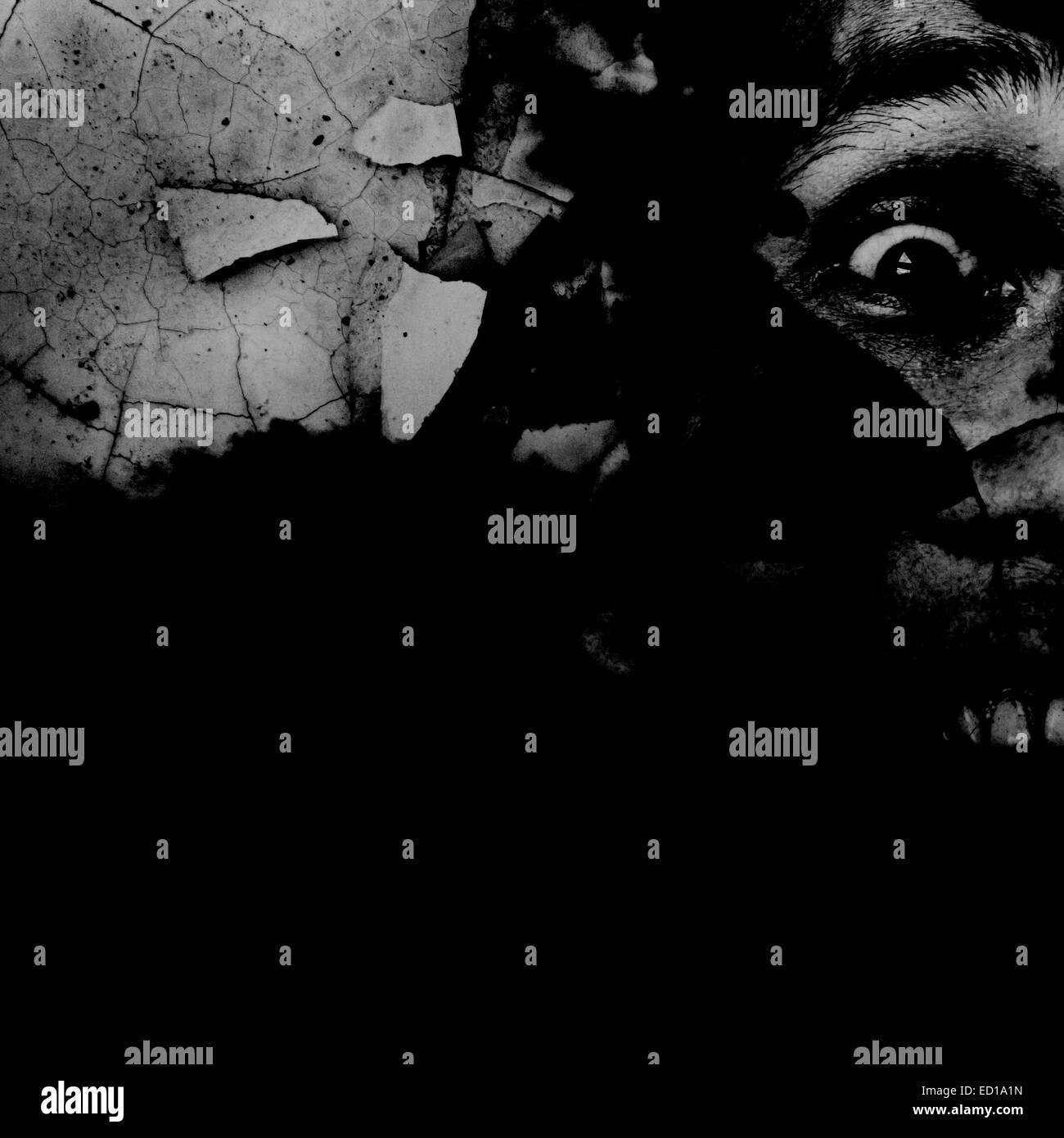 Geist, zerschmetterte Mann schreien auf Grunge Wall Serie, grauen Hintergrund für Filme Posterprojekt, Bucheinband Stockfoto