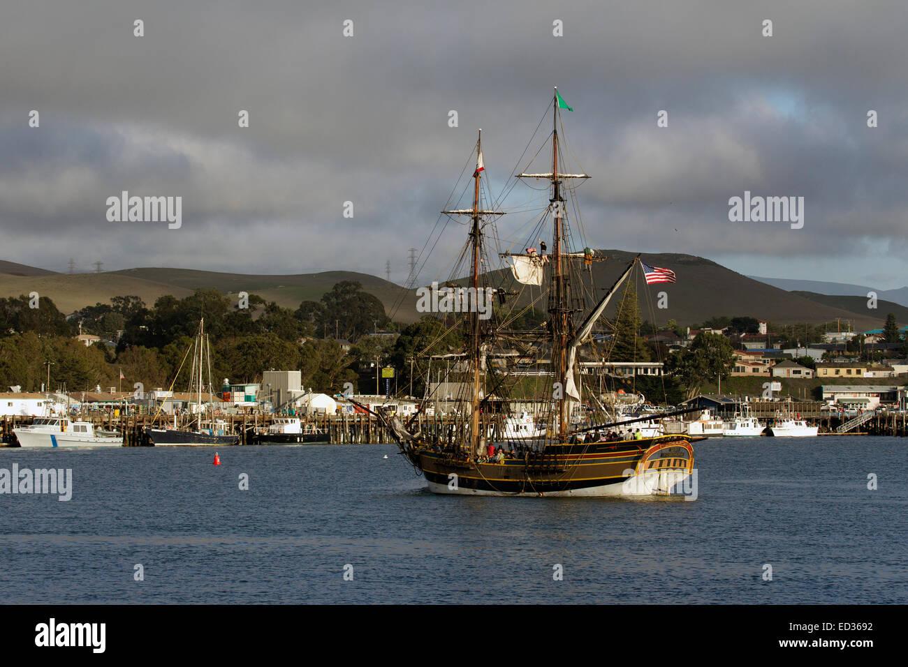 Lady Washington historische Schiff Replik in Morro Bay, Kalifornien Stockfoto