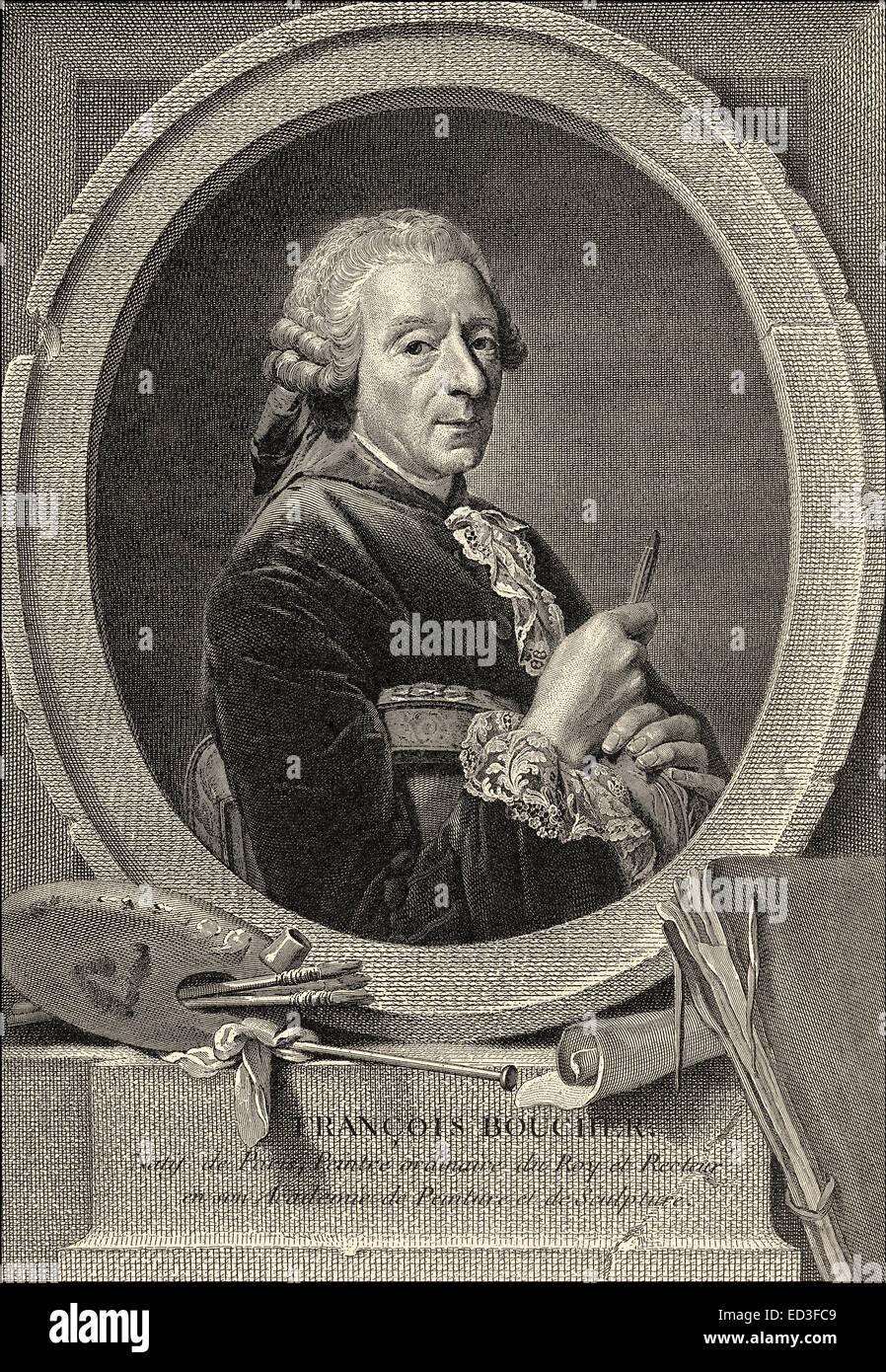 François Boucher, 1703-1770, einem französischen Maler im Rokoko-Stil, der erste Maler des Königs Stockbild