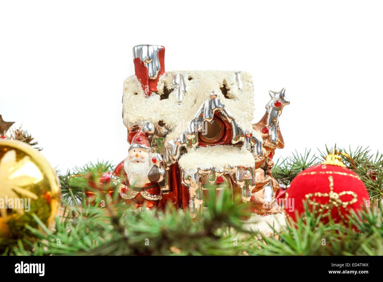 Porzellan Weihnachten.Porzellan Haus Mit Santa Und Dekorationen Rund Um Und Mit