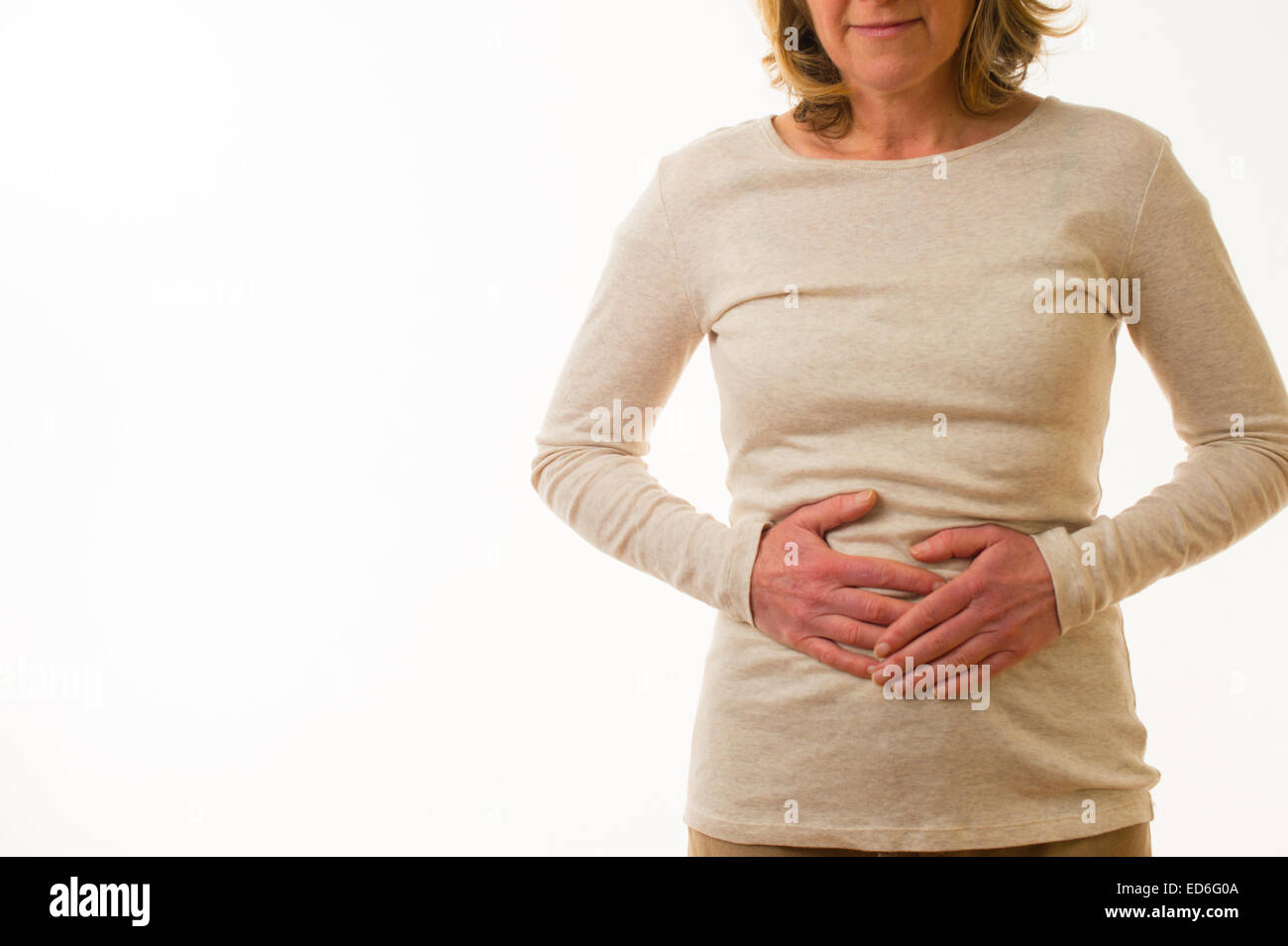 Eine Vierzig Jahre Alten Kaukasischen Frau Mit Bauch Schmerzen Zeit