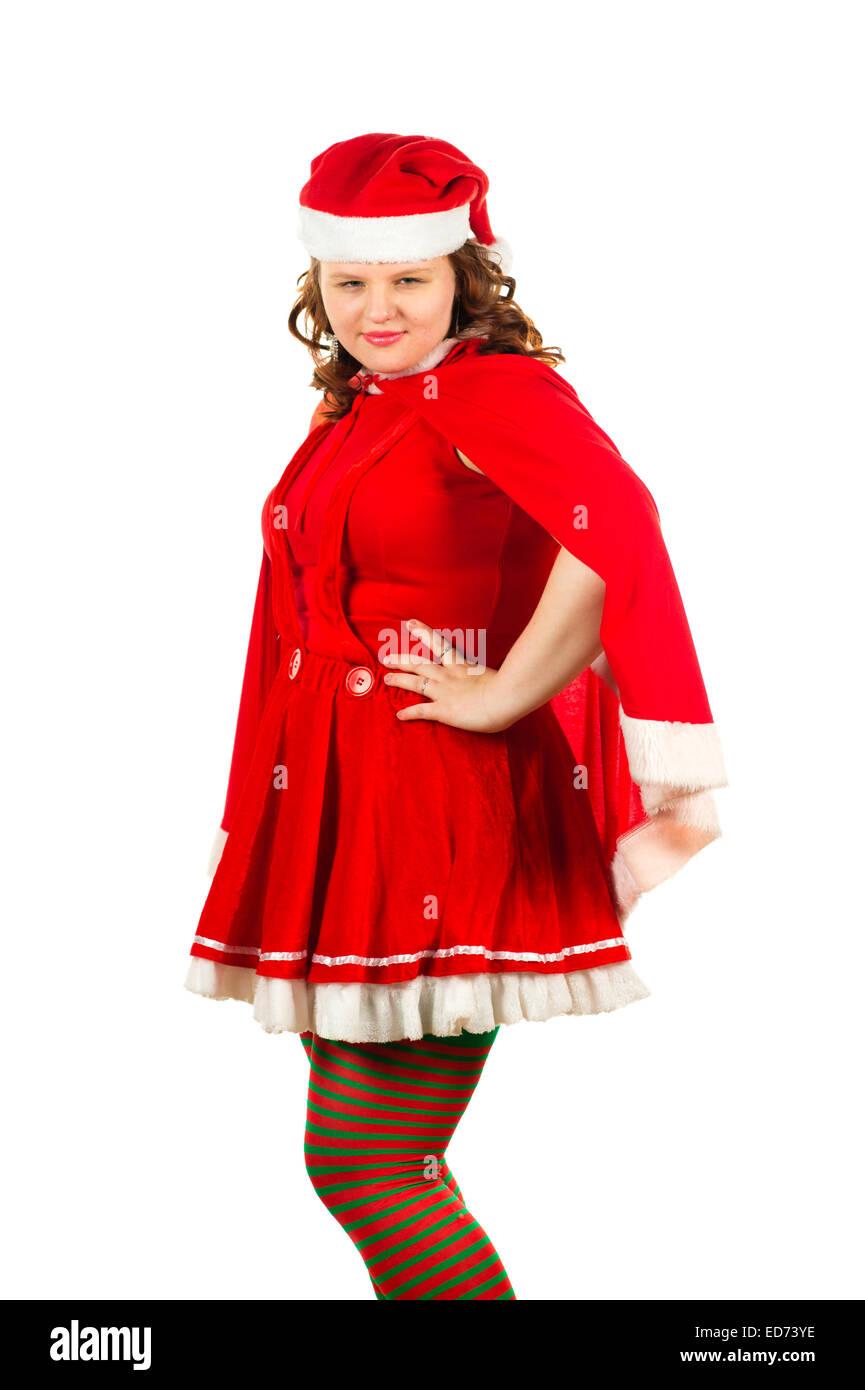 Frau Weihnachtsmann: eine junge Frau verkleidet als Weihnachtsmann ...