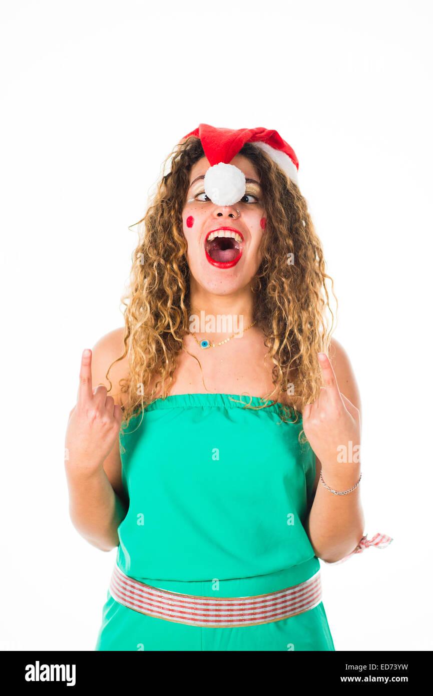 Office Party Animals: Eine junge Frau Mädchen amüsiert sich mit Spaß ...