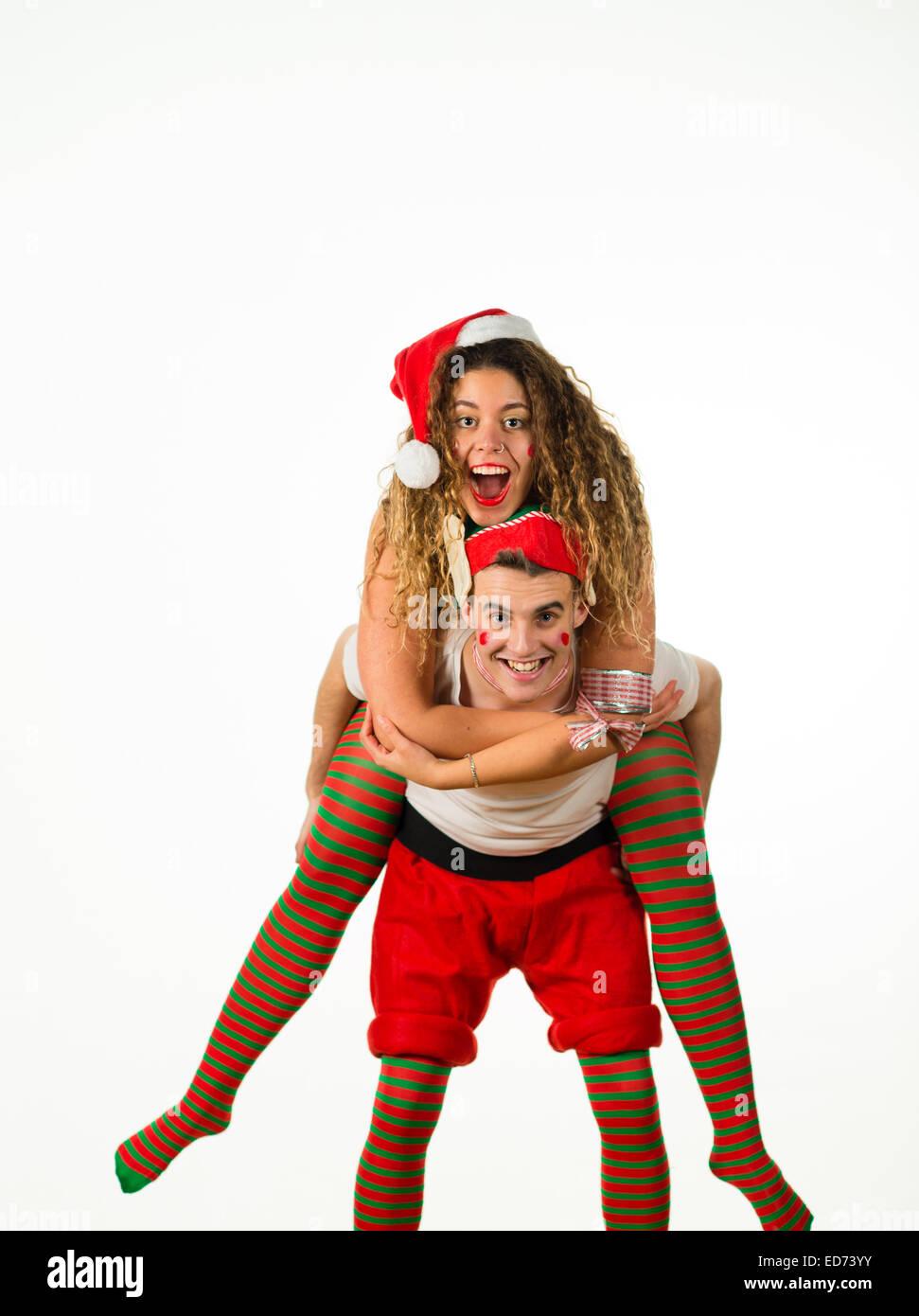 Office Party Animals: Ein junges Paar junge Mädchen Mann Frau mit ...