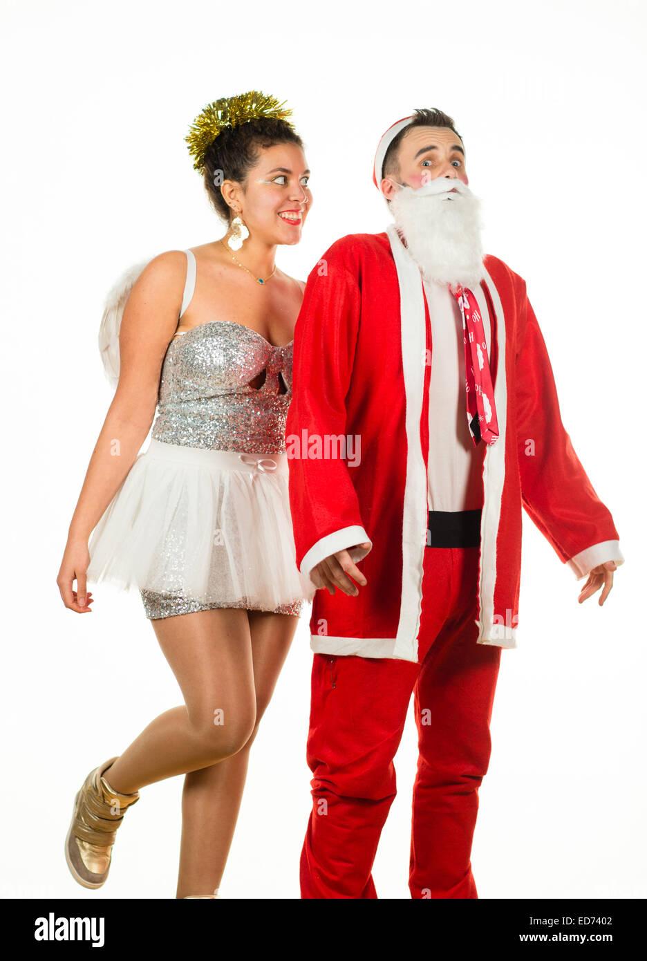 Weihnachtsengel goosing Santa Claus: zwei Jugendliche bei einem ...