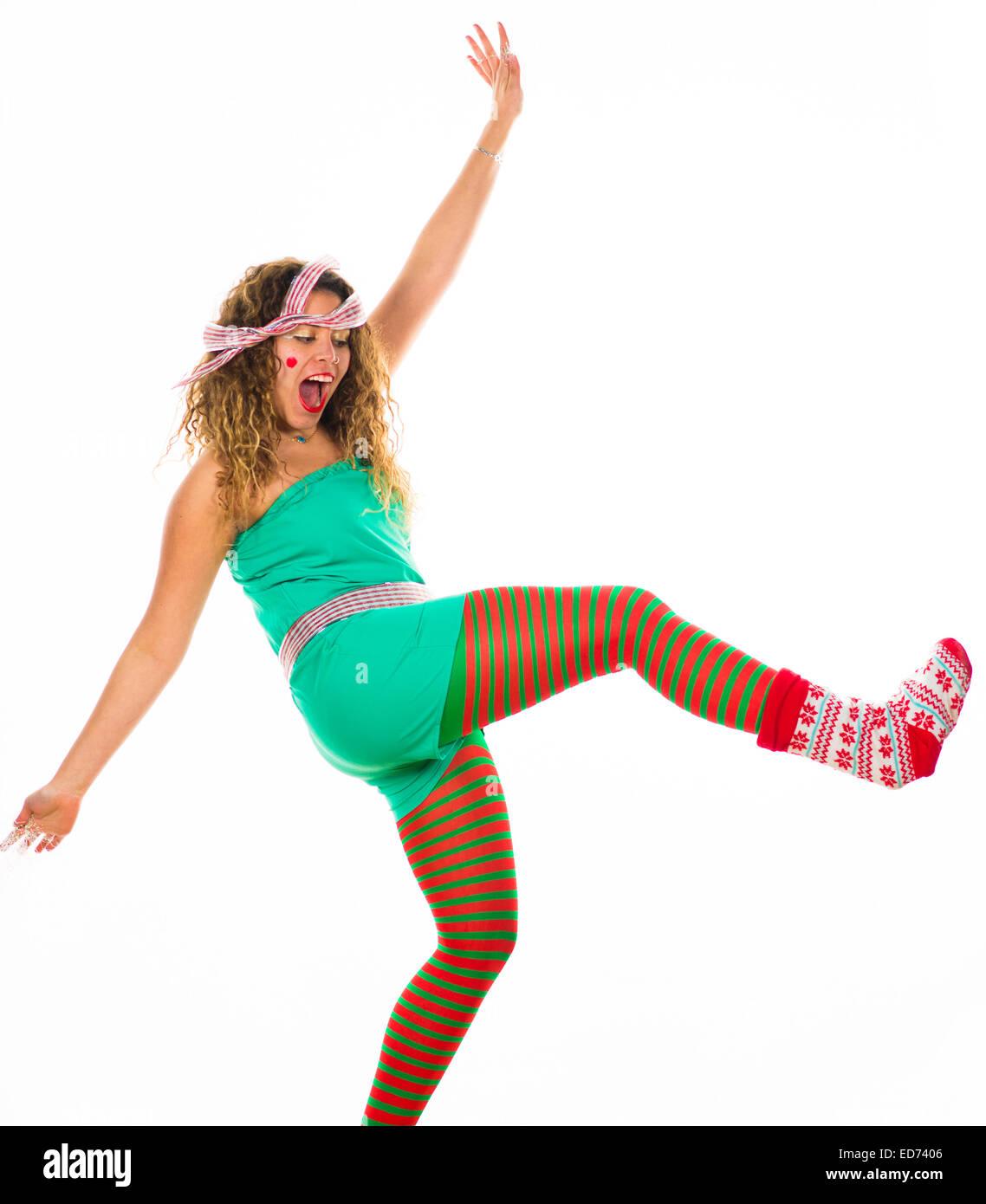 Office Party Animals: Eine junge Frau Mädchen amüsiert sich tanzen ...