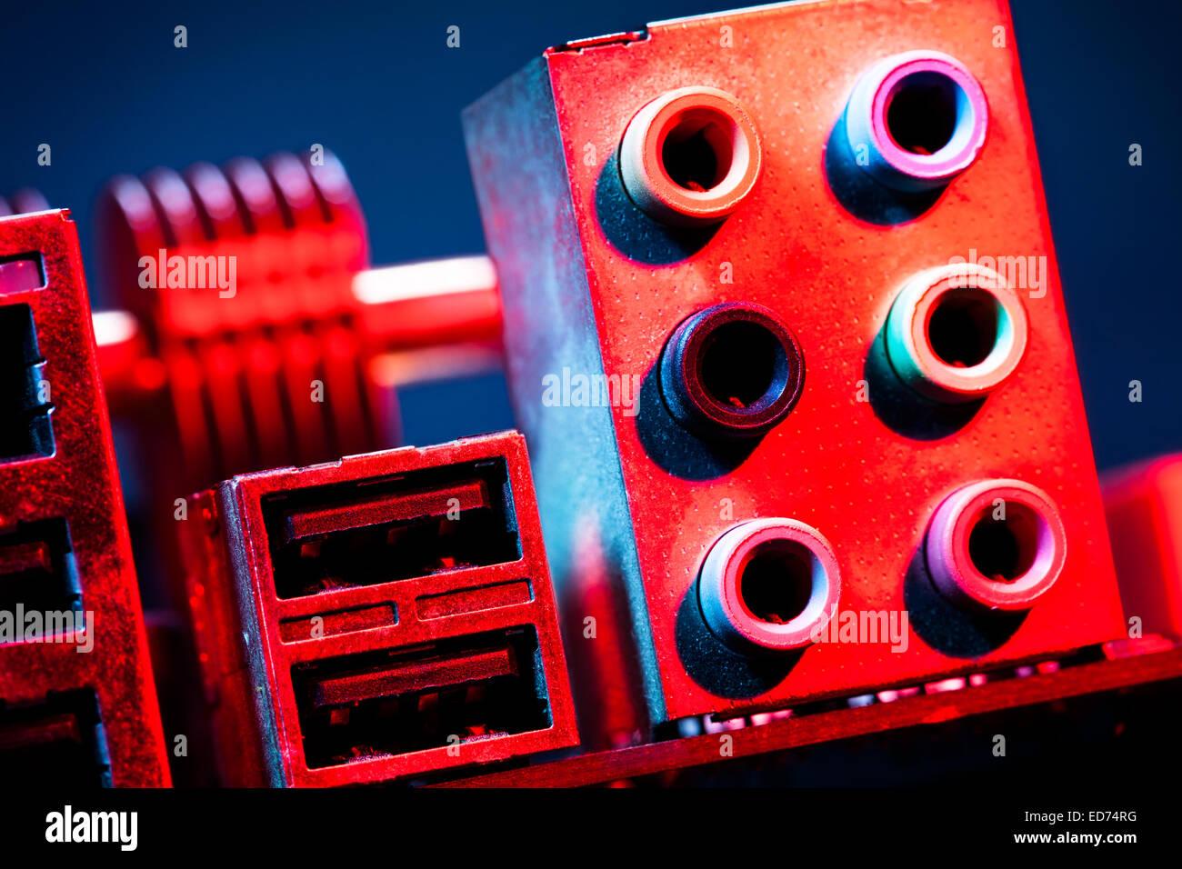 Motherboard-audio-input-output Stockbild