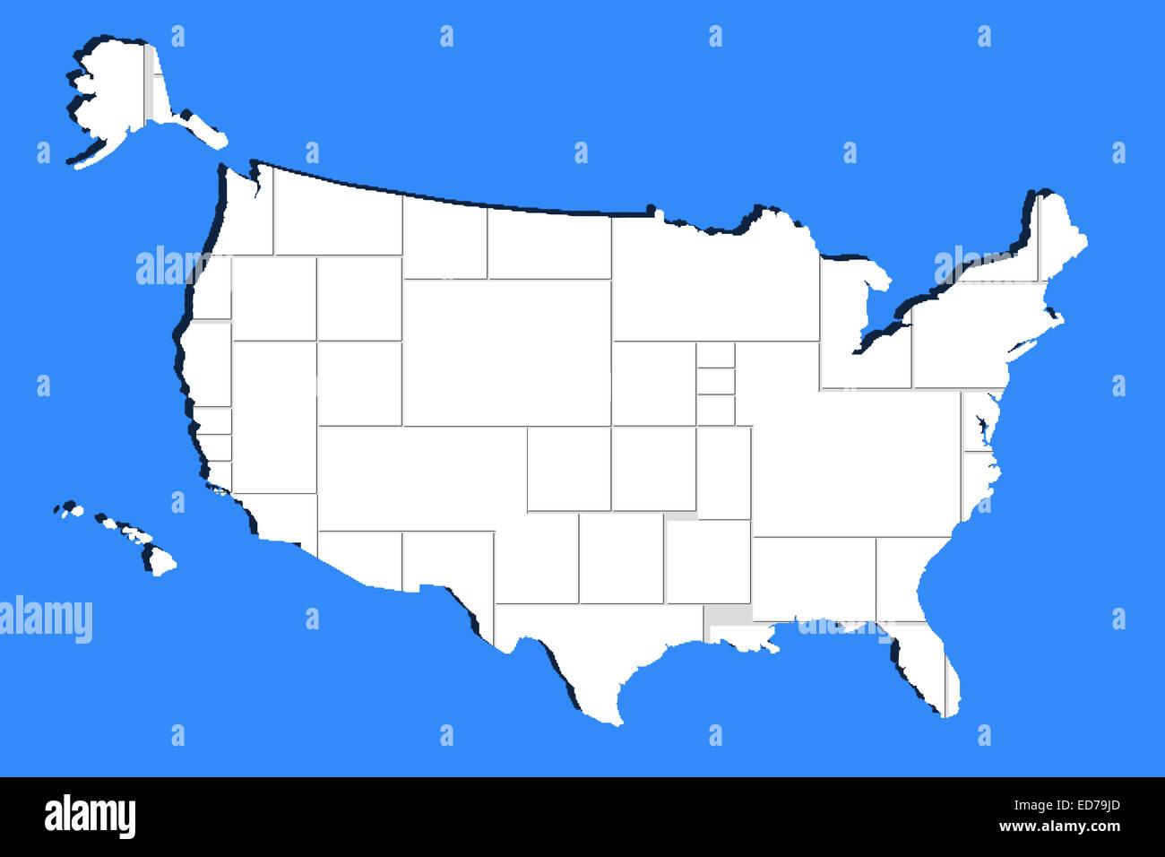 leer leere Bilderrahmen in USA Karte Form auf blau Stockfoto, Bild ...