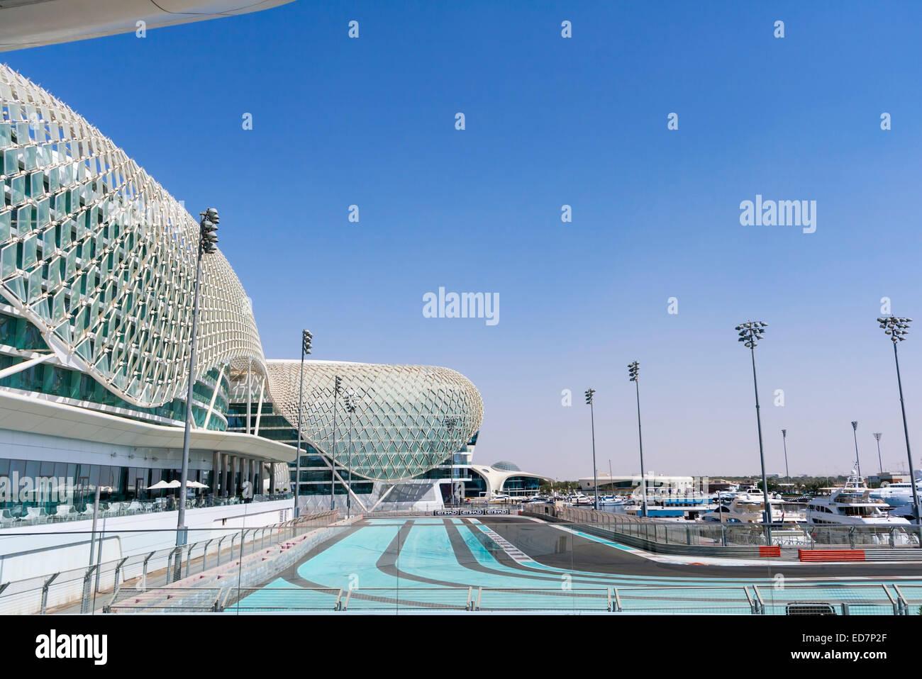 Abu Dhabi, Vereinigte Arabische Emirate. Der FI-Yas Marina Circuit. Stockbild