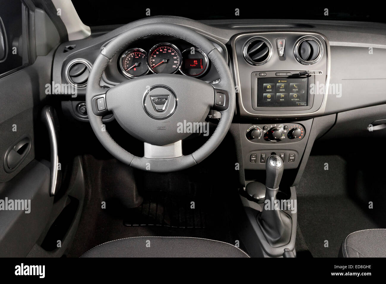 Interior With Romanian Dacia Car Stockfotos & Interior With Romanian ...